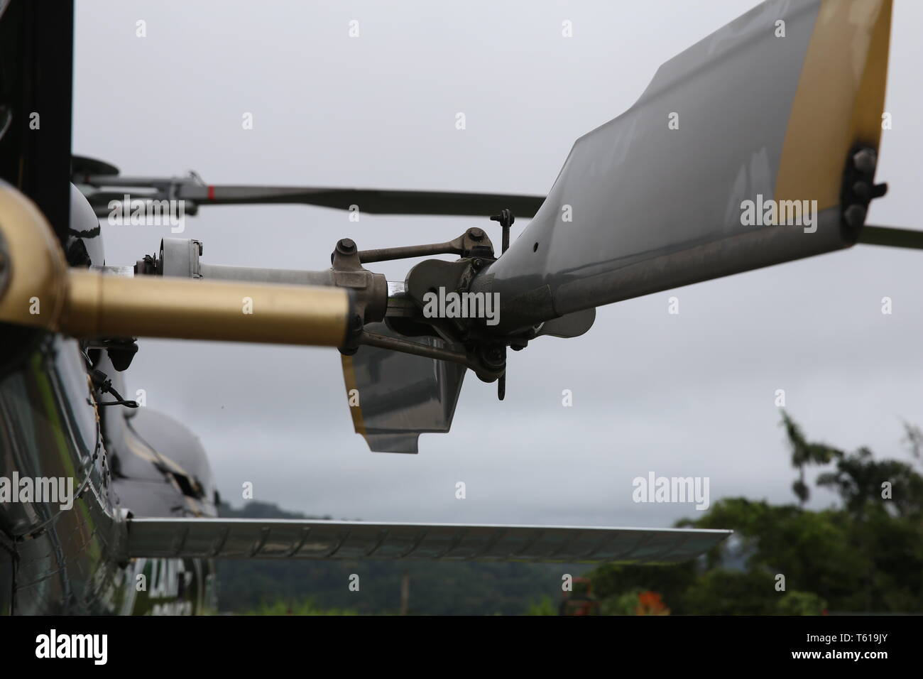 Close up view of a eurocopter tail rotor - Stock Image