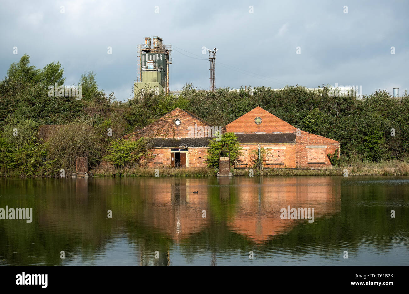 Derelict industrial pumping house Stock Photo