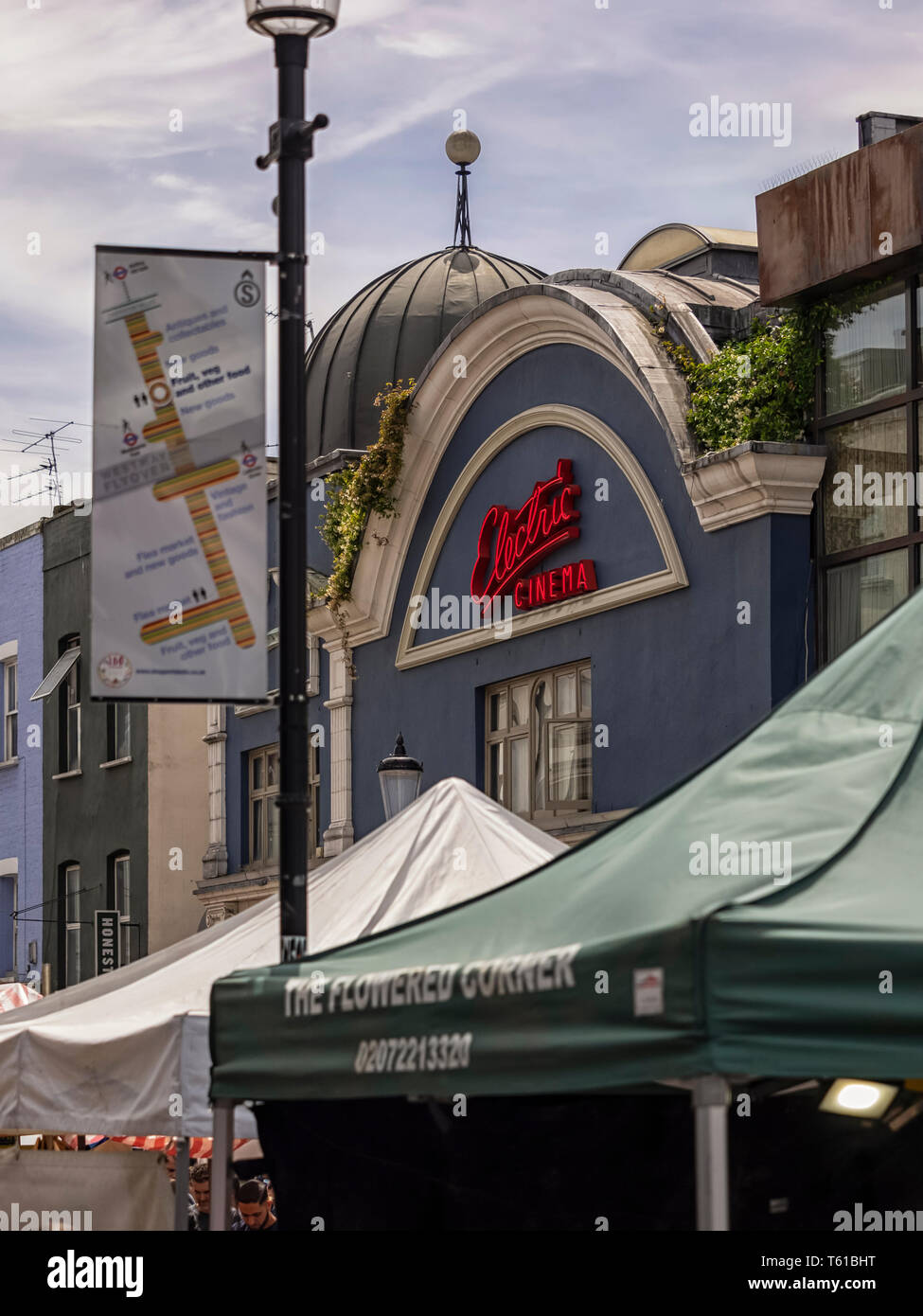 NOTTING HILL, LONDON:  Sign for the Electric Cinema beside Map of Notting Hill Market - Stock Image