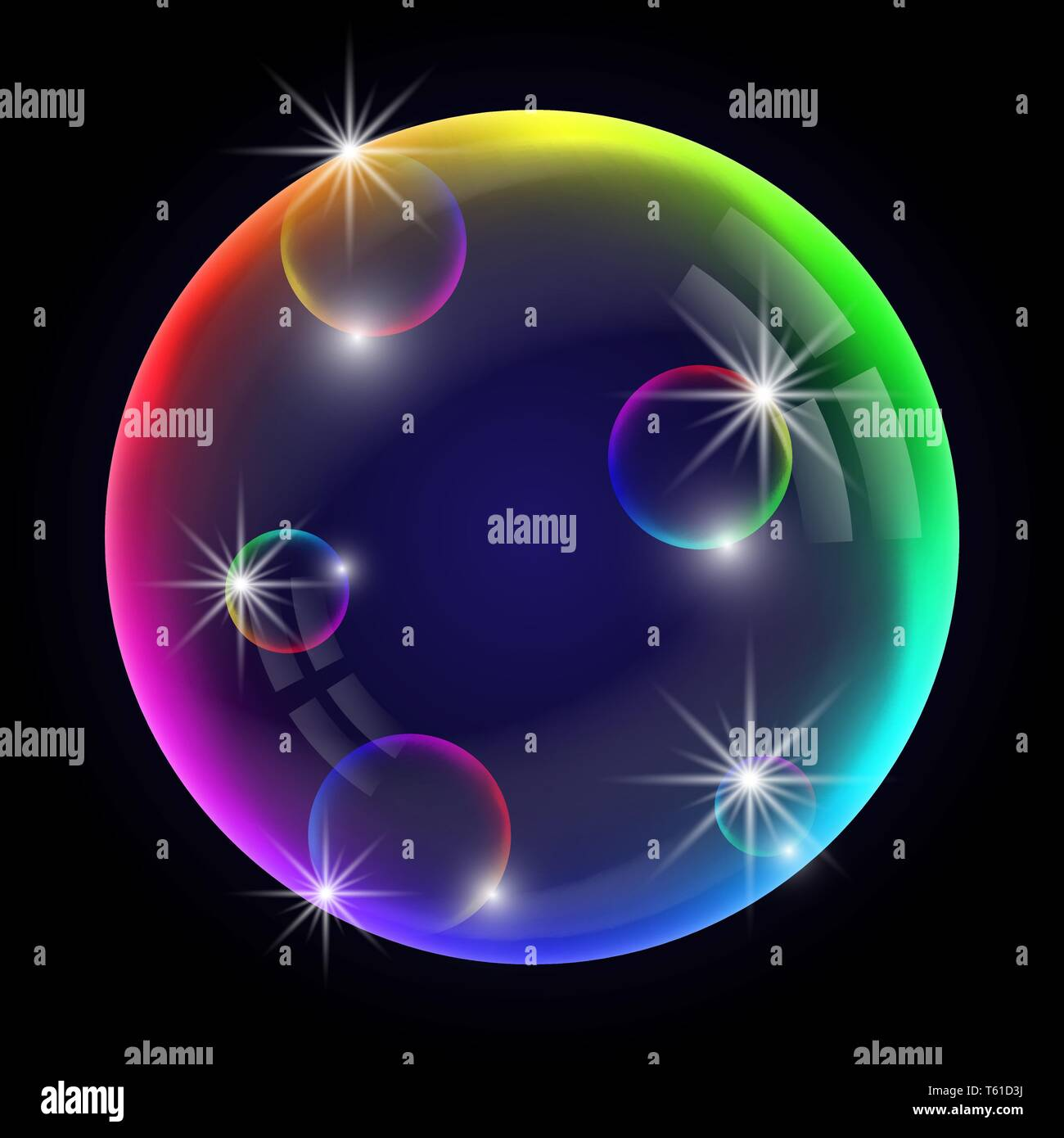 Colorful soap bubble. Vector illustration with transparent black background. - Stock Vector