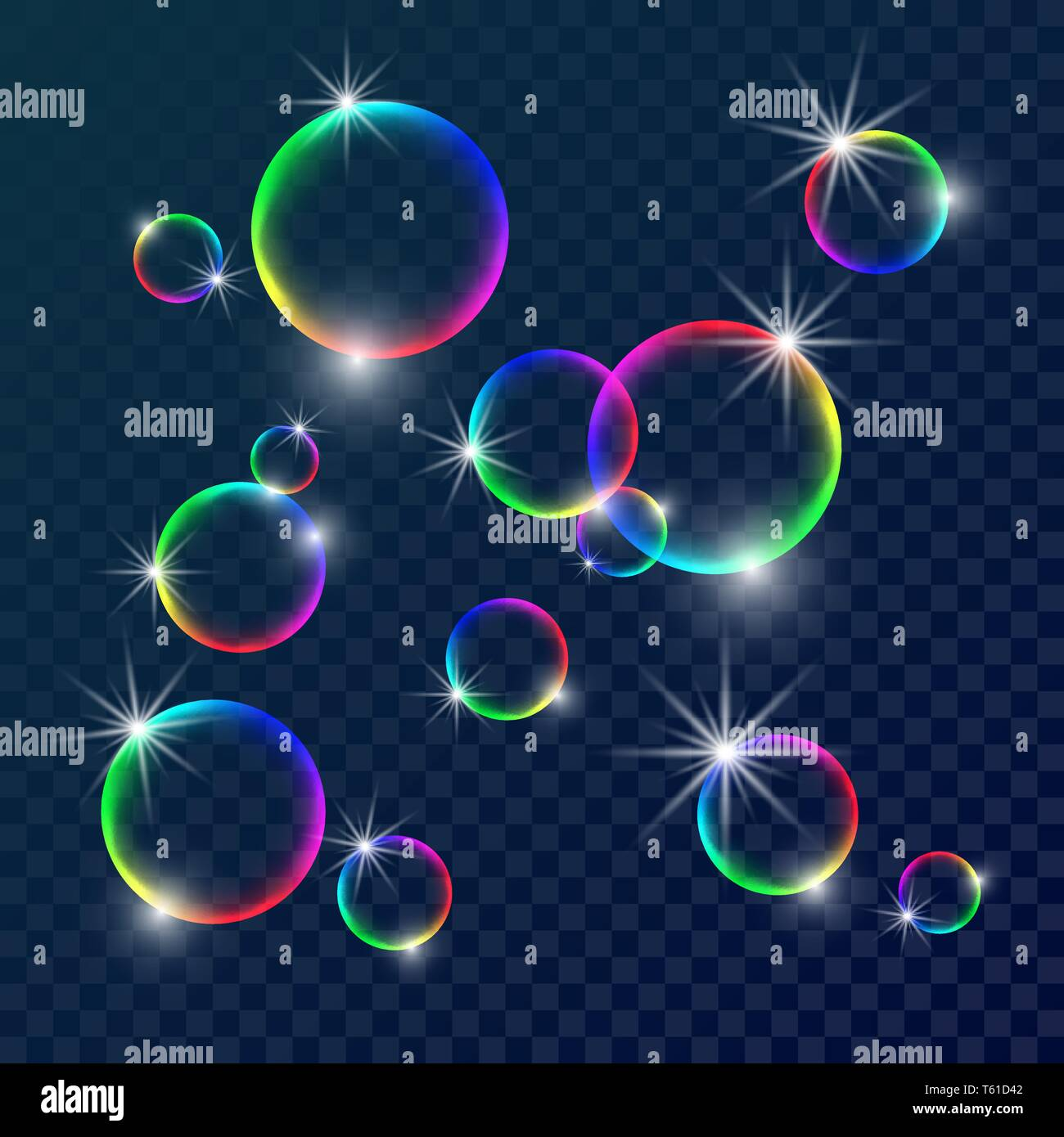 Colorful soap bubbles. Vector illustration with transparent color background. - Stock Vector