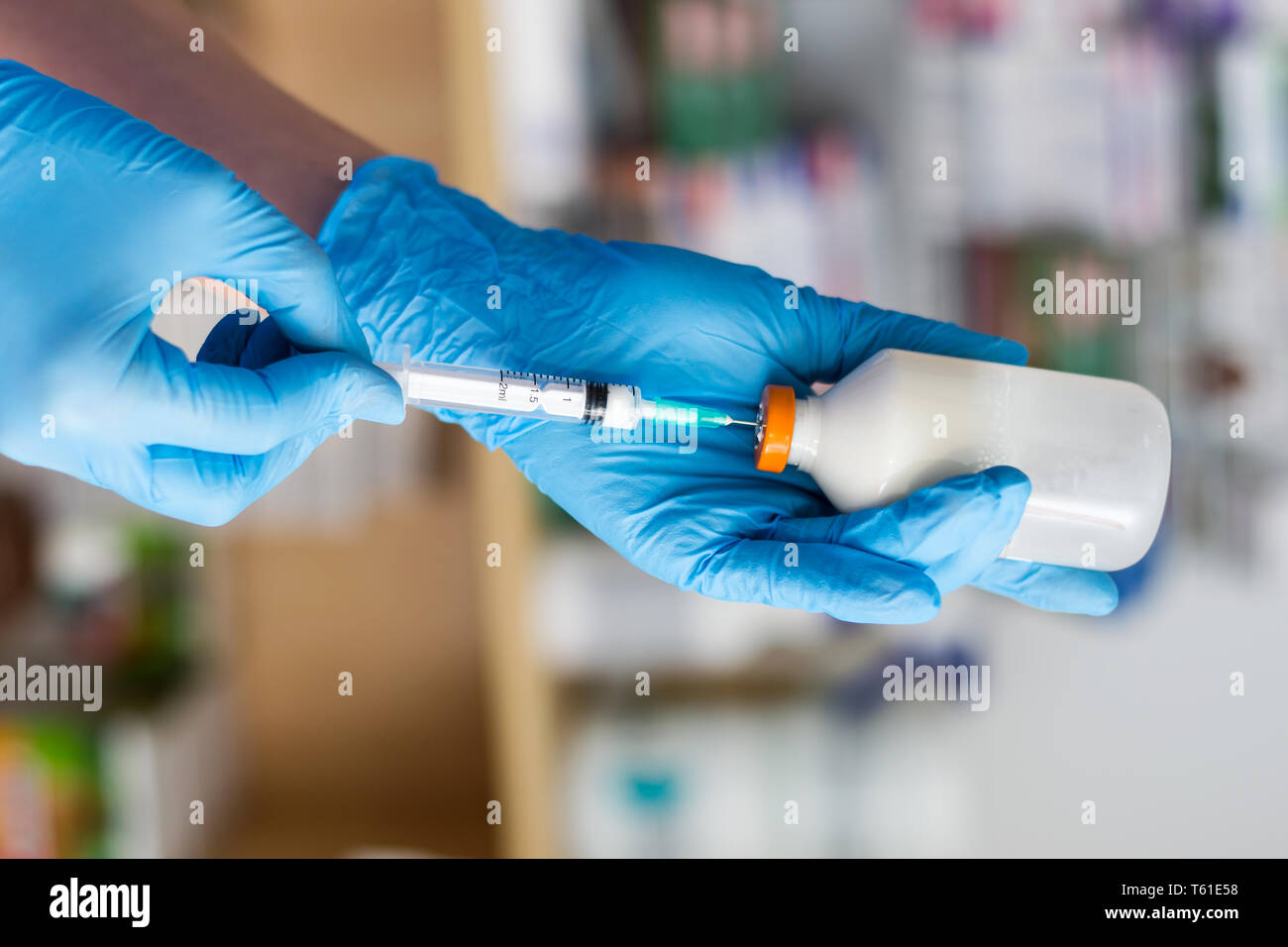 the veterinarian women with blue gloves extract a white drug with a syringe - Stock Image