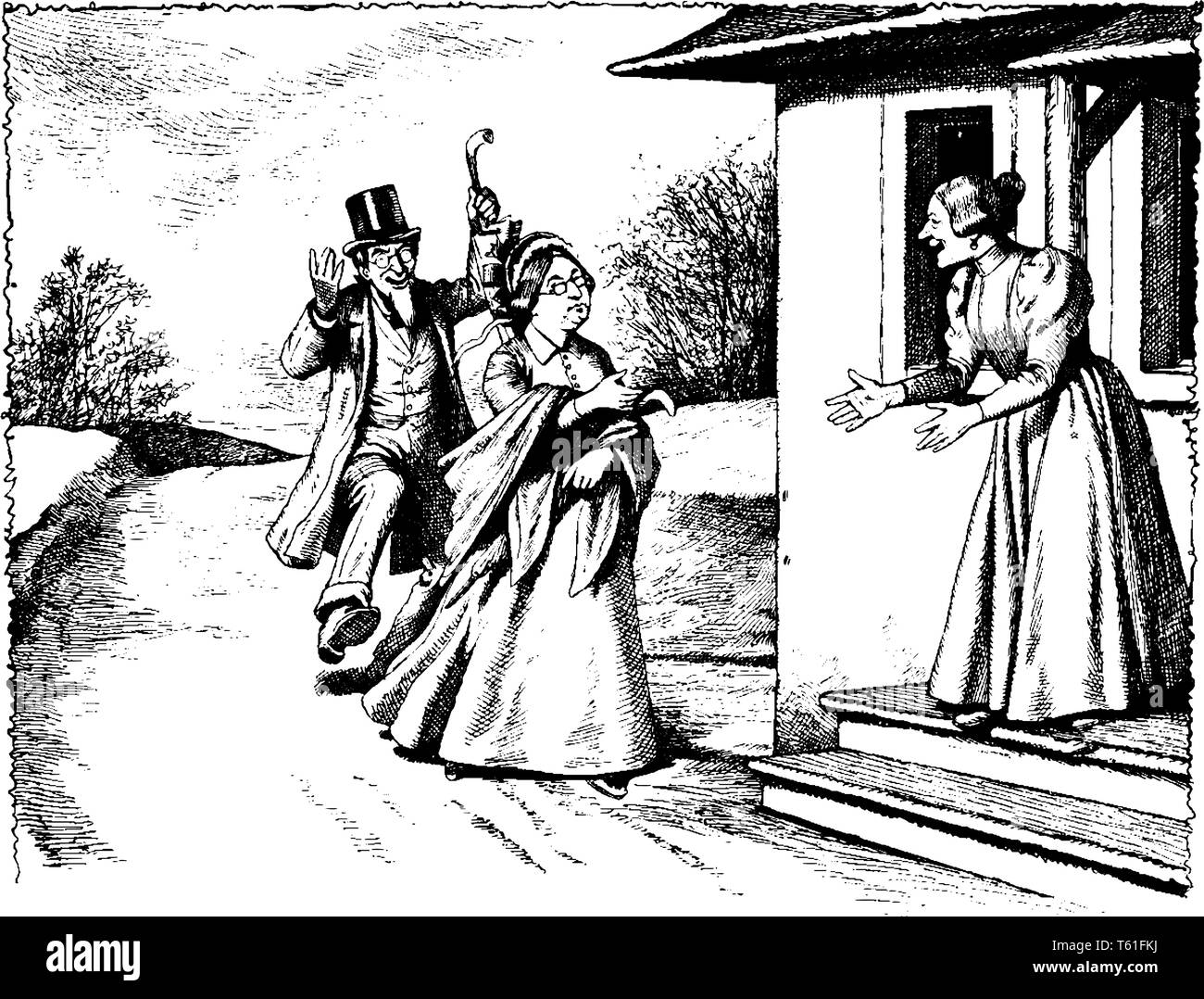 A woman greeting man and another woman at her door, vintage line drawing or engraving illustration - Stock Vector