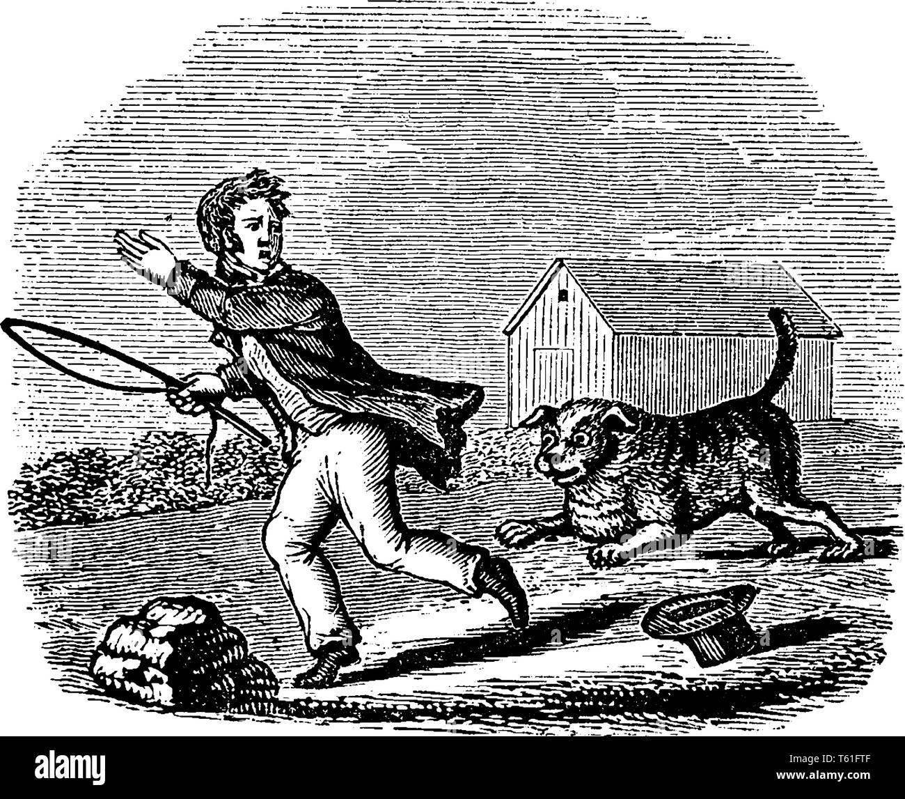 A dog running behind boy, vintage line drawing or engraving illustration - Stock Vector