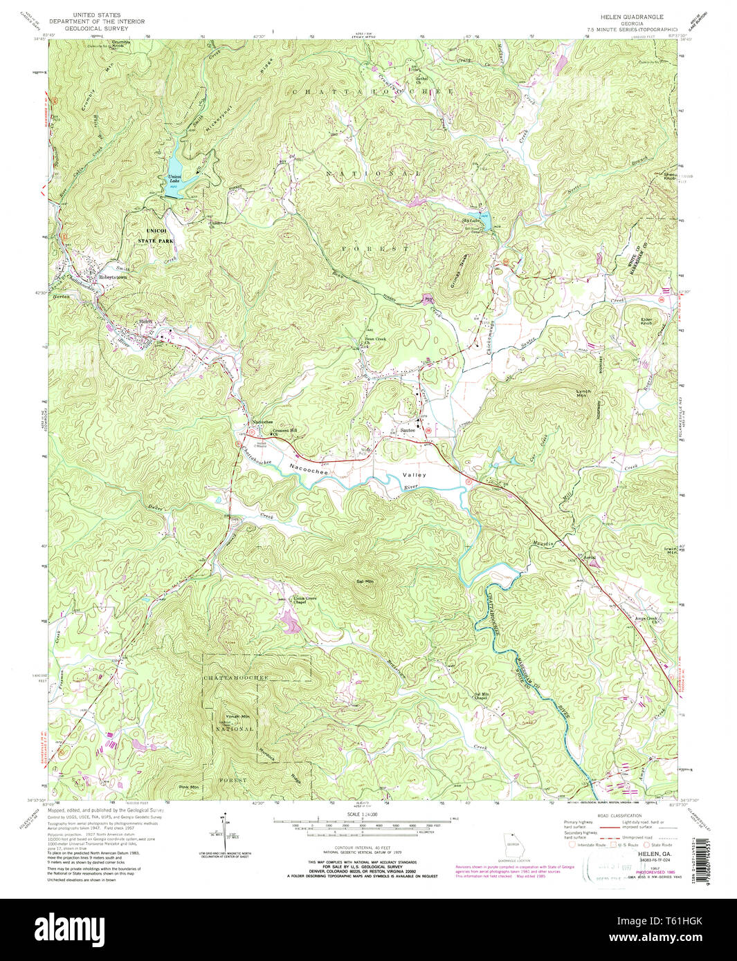 Map Of Georgia Helen.Usgs Topo Map Georgia Ga Helen 245891 1957 24000 Restoration Stock