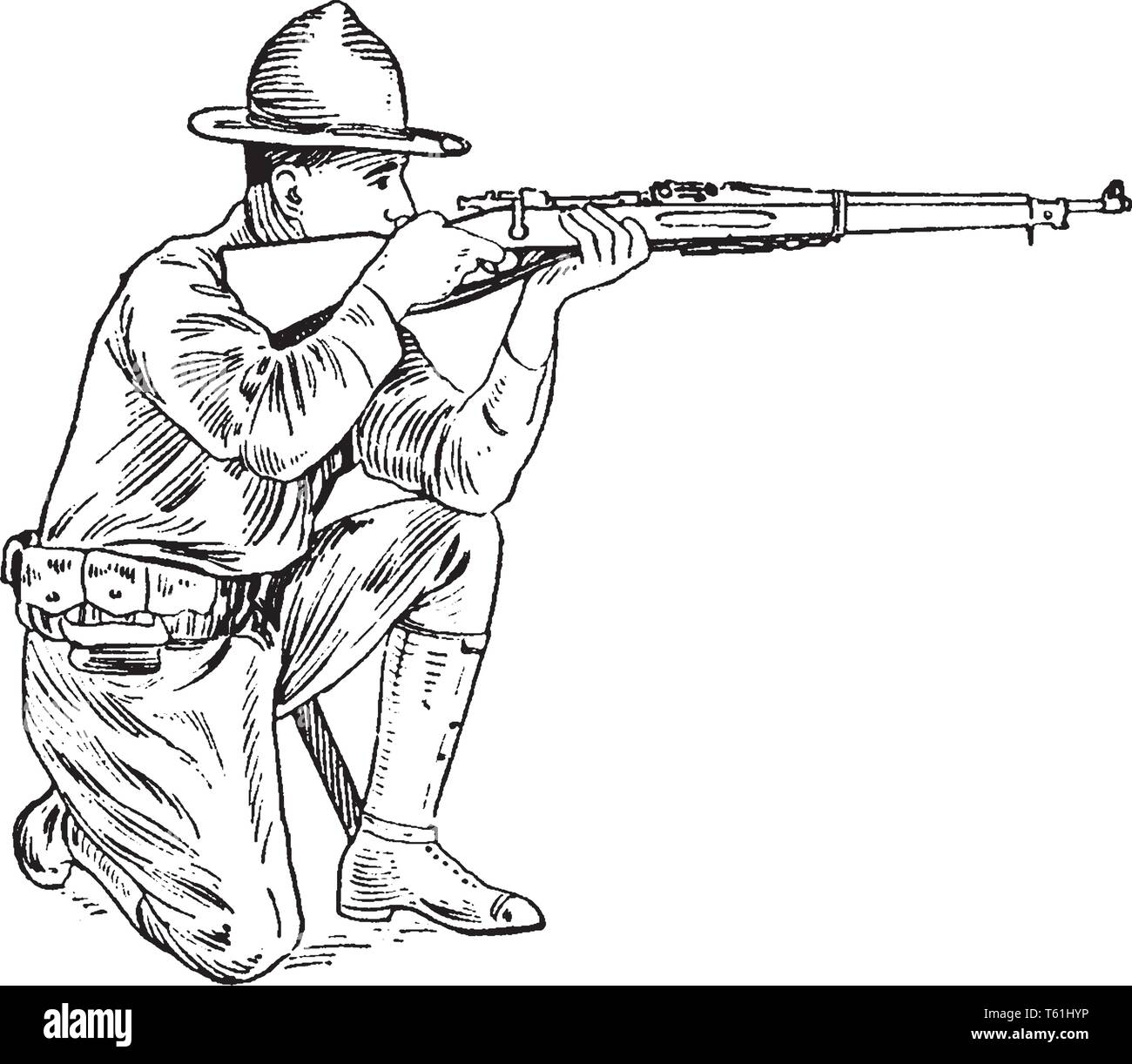 A soldier with rifle sitting on knees and looking through the notch of the rear sight so as to perceive the object aimed at it, vintage line drawing o - Stock Vector