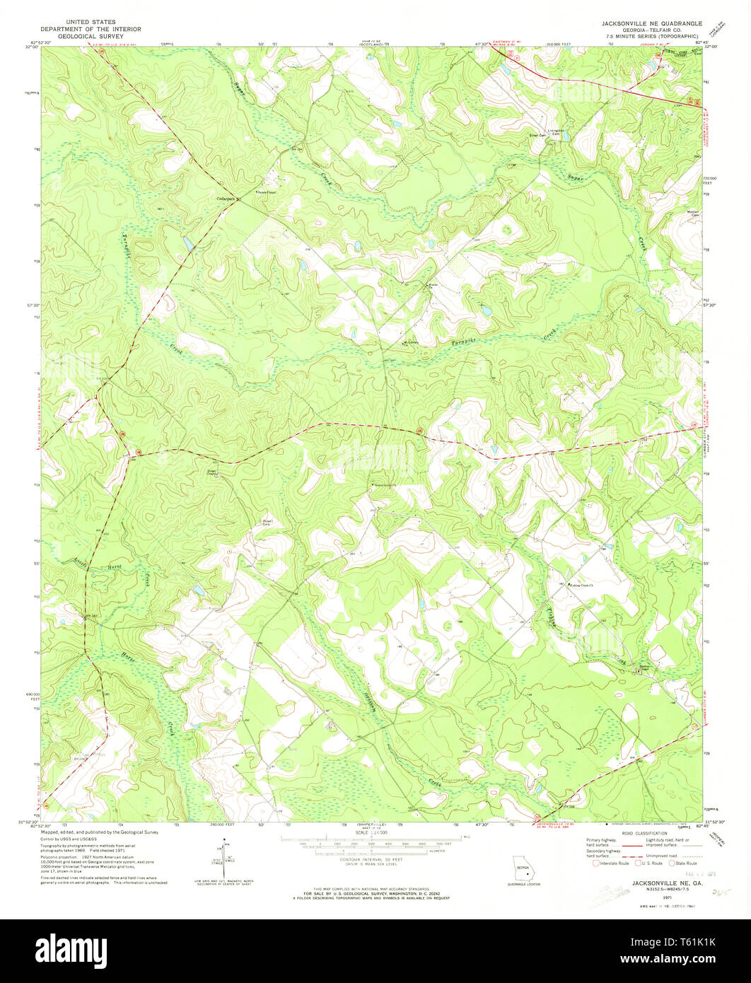 Map Of Jacksonville Georgia.Usgs Topo Map Georgia Ga Jacksonville Ne 246025 1971 24000