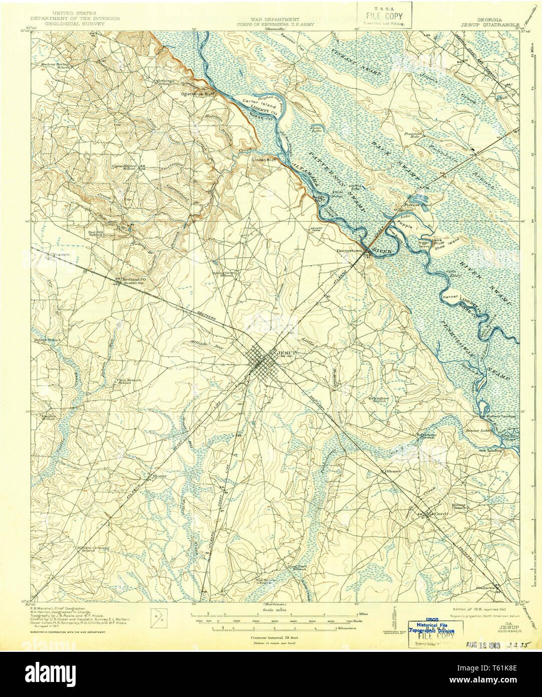 Map Of Jesup Georgia.Usgs Topo Map Georgia Ga Jesup 247492 1918 62500 Restoration Stock