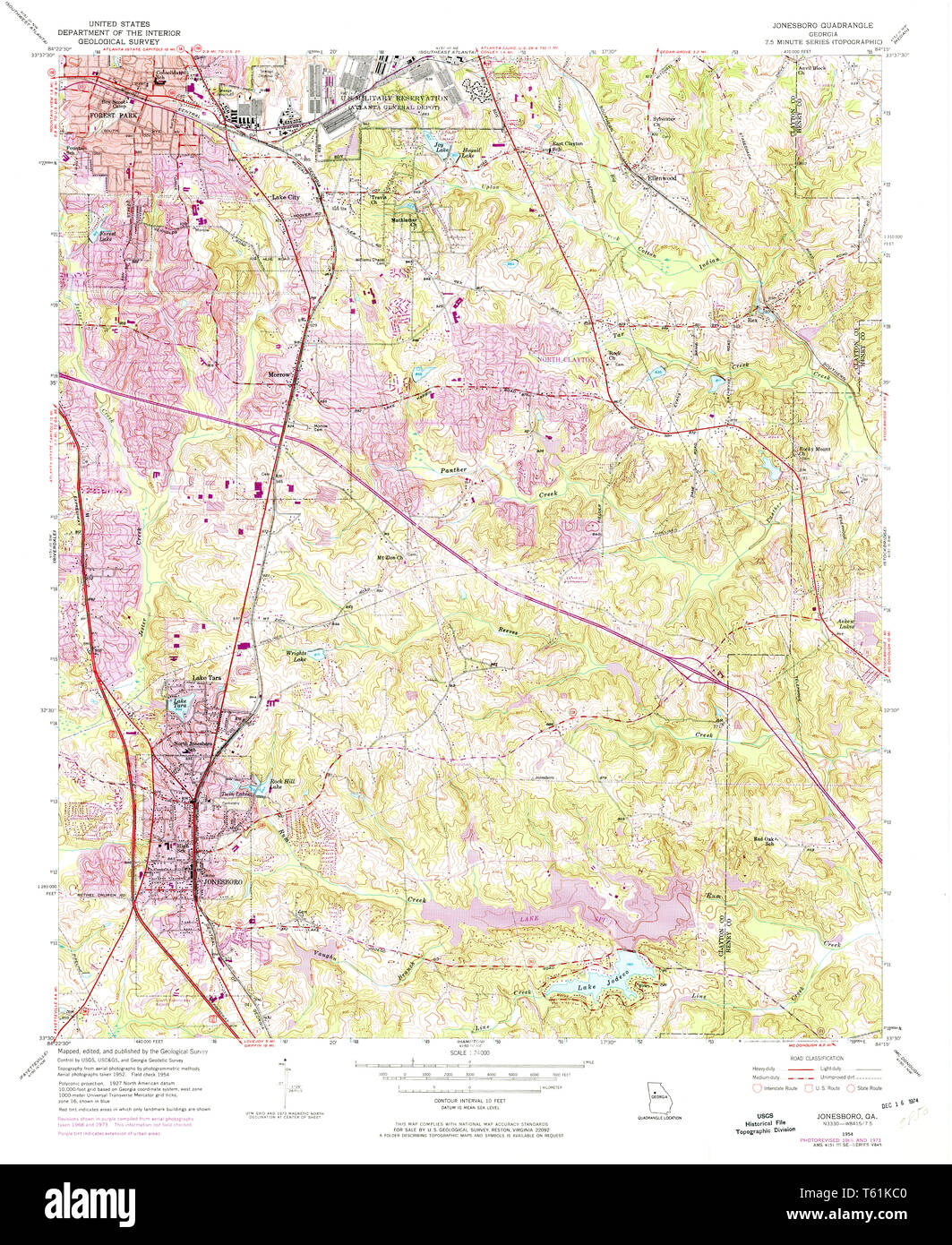 Map Of Georgia 75.Usgs Topo Map Georgia Ga Jonesboro 246058 1954 24000 Restoration