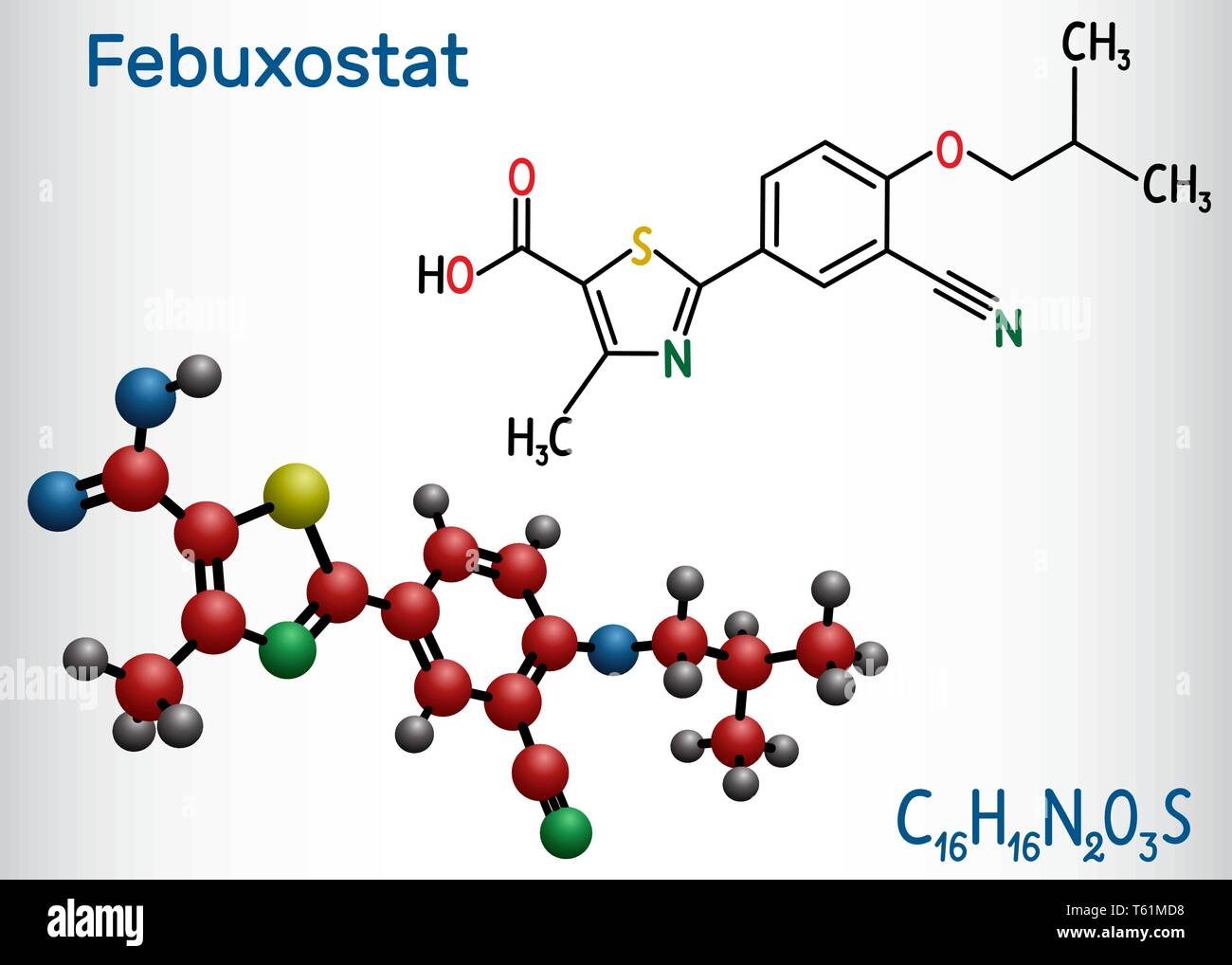 Febuxostat molecule. Structural chemical formula and molecule model. Vector illustration - Stock Image