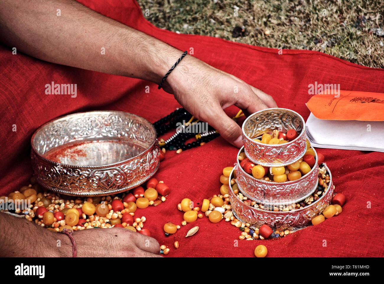 Buddhist devotional practices - Kathmandu, Nepal - Stock Image