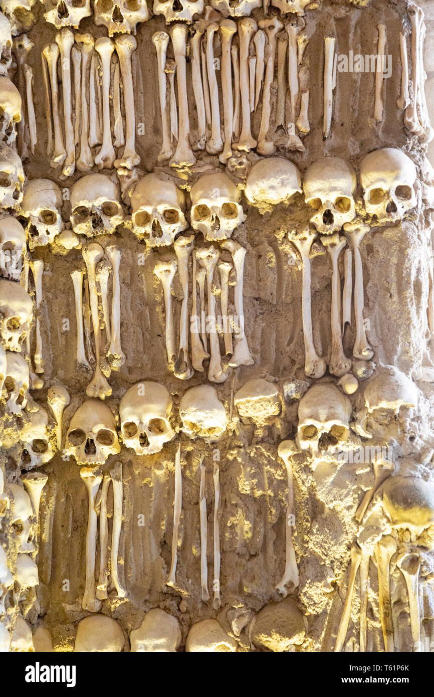 The Chapel of Bones, Capela dos Ossos, city of Evora, Alto Alentejo, Portugal, southern Europe - Stock Image