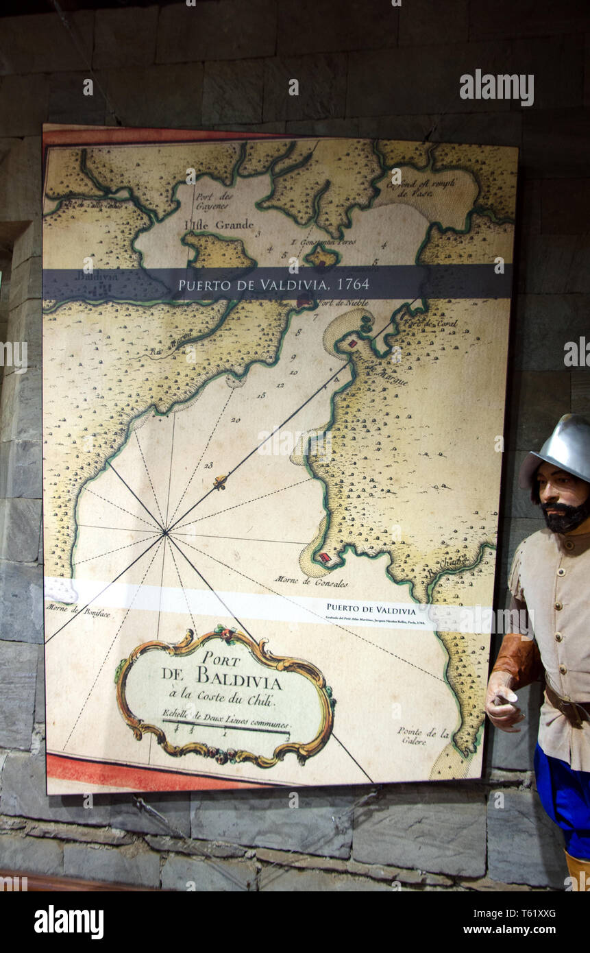 In the museum of the Castillo de Niebla, Niebla's touristy castle ruins, a chart shows the Valdivia river stoutly defended in the past - Stock Image