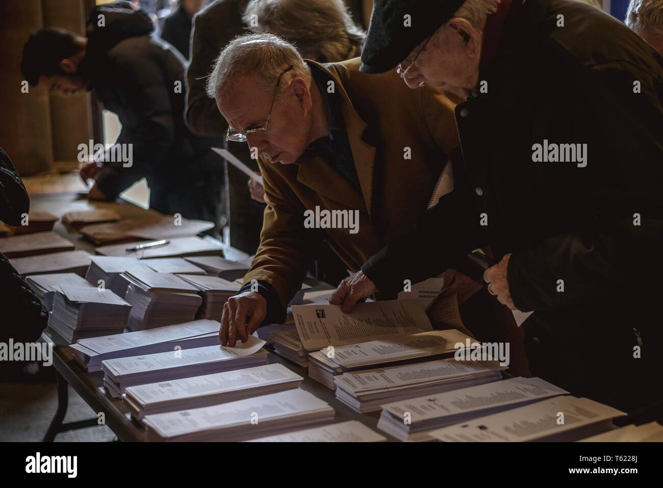 Barcelona, Spain  28th Apr, 2019  Ballots are pictured in a polling