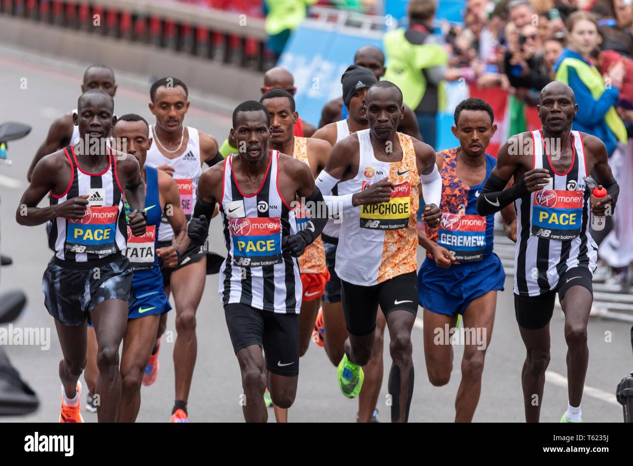 Elite men's group racing at the Virgin Money London Marathon 2019, UK - Stock Image
