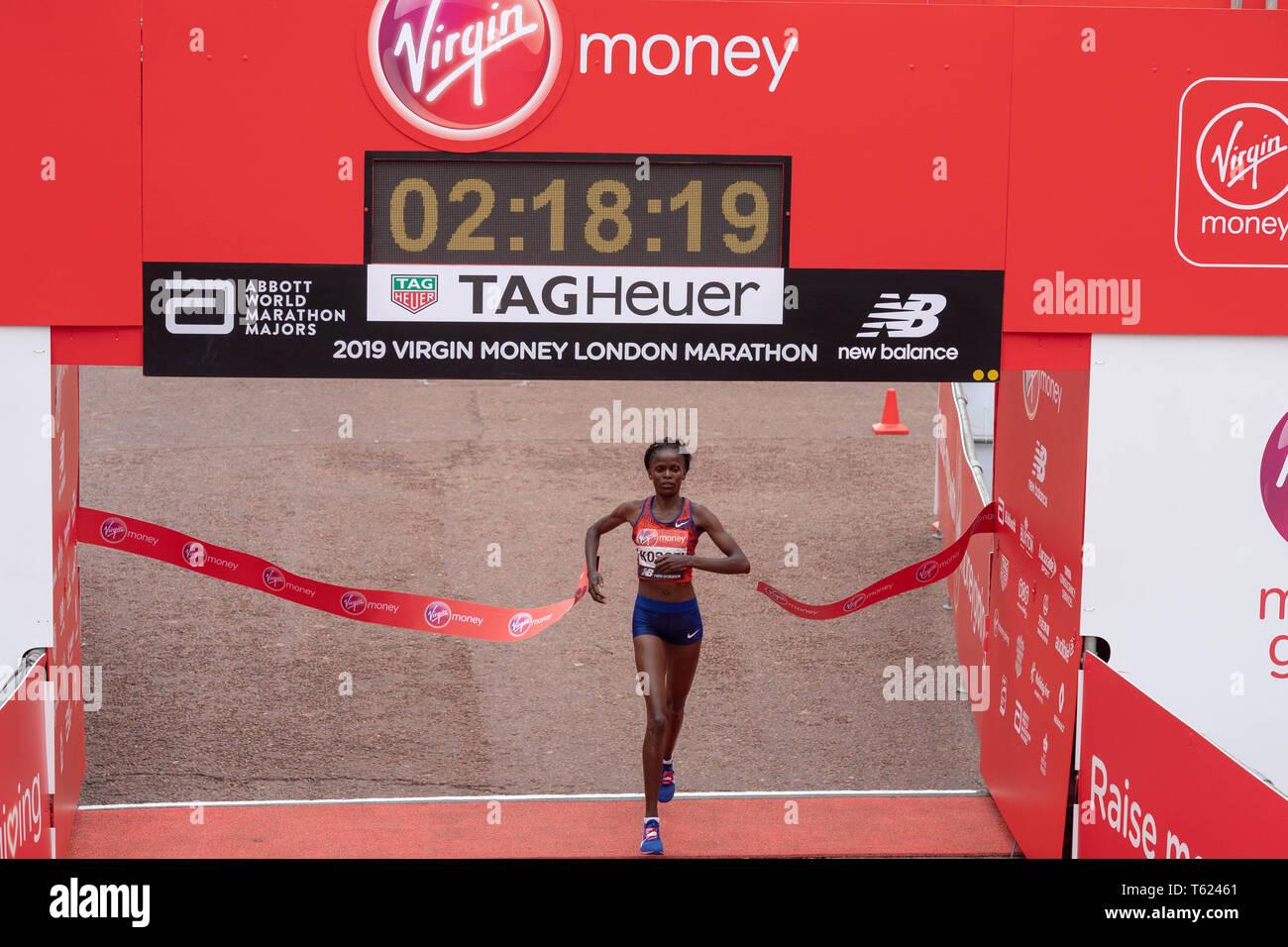 London, UK. 28th April 2019. Virgin Money London Marathon 2019 Brigid Kosegi of Kenya wins the Elite winners race Credit Ian Davidson/Alamy Live News Stock Photo