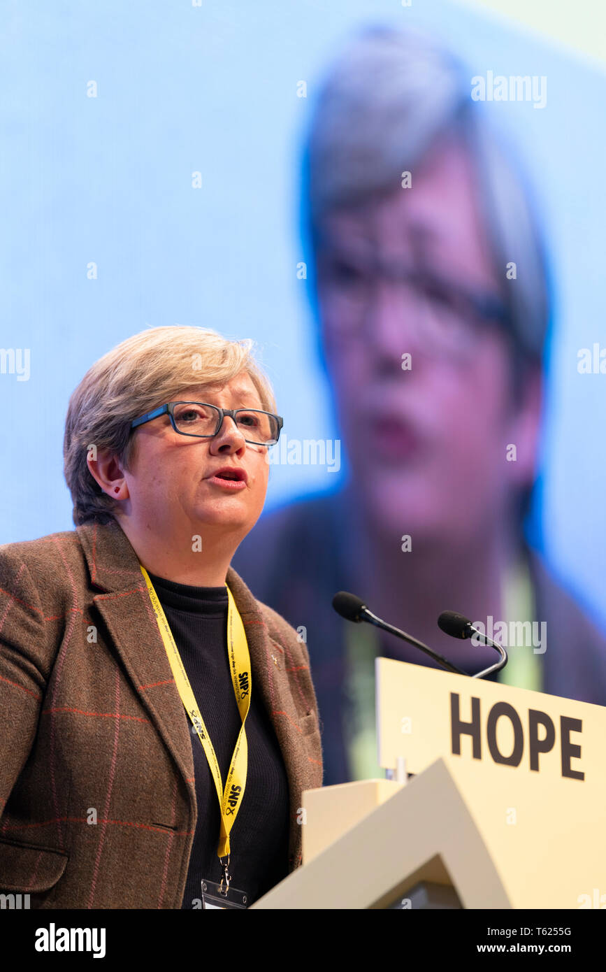 Edinburgh, Scotland, UK. 28 April, 2019. Day 2 of thee SNP ( Scottish National Party) Spring Conference takes place at the EICC ( Edinburgh International Conference Centre) in Edinburgh. Pictured;  Joanna Cherry MP making her address to delegates at the conference Credit: Iain Masterton/Alamy Live News - Stock Image