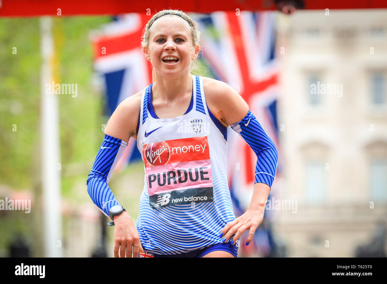 London, UK. 28th April 2019. British runner Charlotte Purdue comes 10th in the women's race and is happy with her performance. Elite Men's and Women's races. The world's top runners once again assemble in for the London marathon, to contest the 39th race. Credit: Imageplotter/Alamy Live News Stock Photo