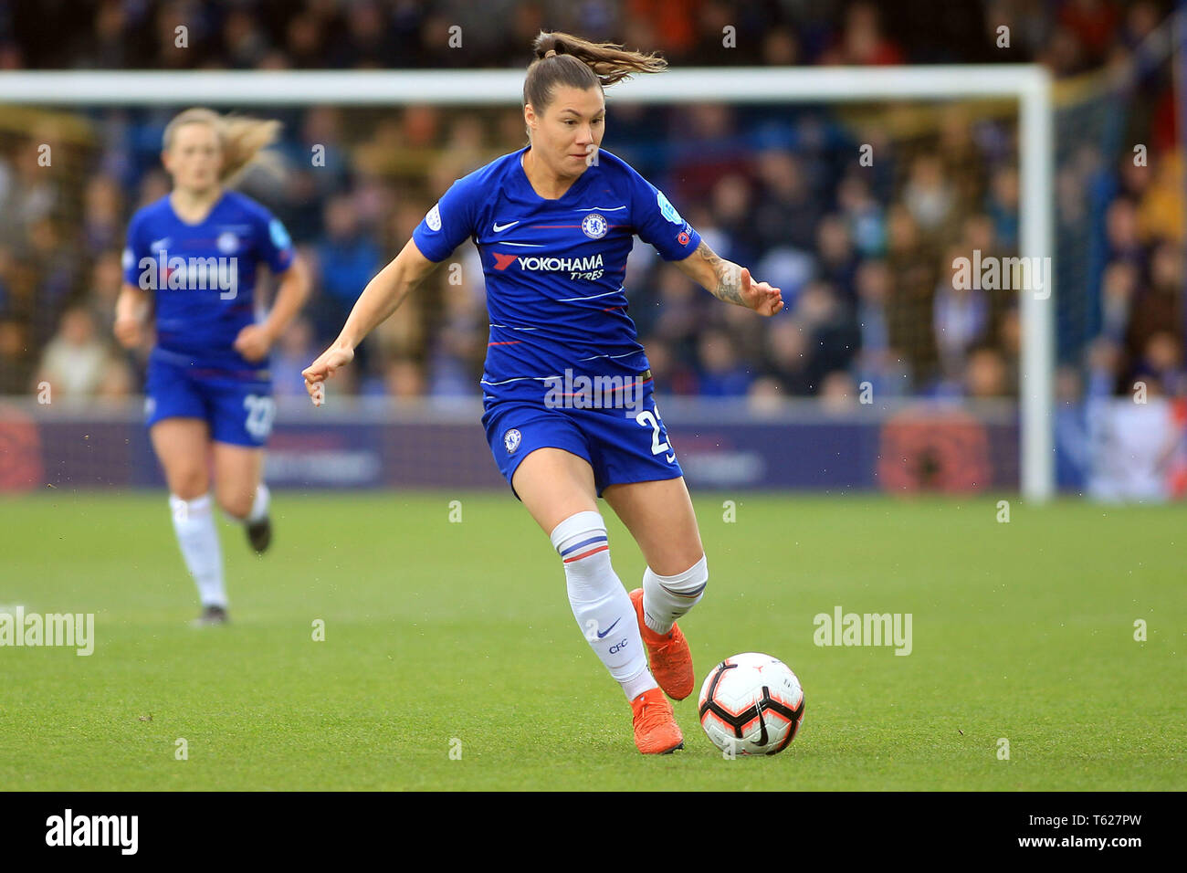 Surrey, UK. 28th Apr, 2019. Ramona Bachmann of Chelsea Women in action. Women's Champions League semi final , 2nd leg  Chelsea women v Lyon Feminines at the Cherry Red Records Stadium in Kingston upon Thames, Surrey on Sunday 28th April 2019. this image may only be used for Editorial purposes. Editorial use only, license required for commercial use. No use in betting, games or a single club/league/player publications. Credit: Andrew Orchard sports photography/Alamy Live News - Stock Image