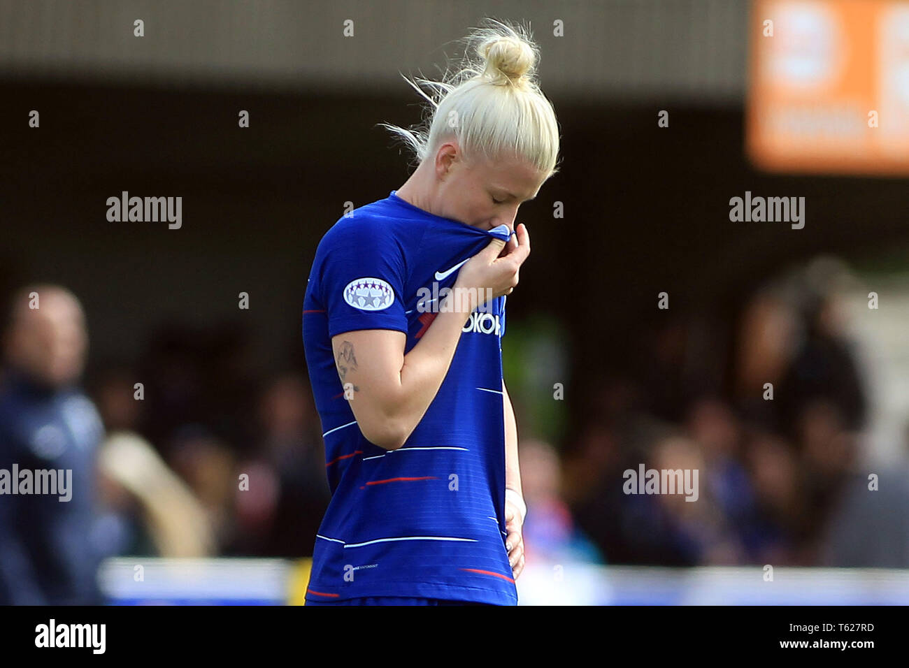 Surrey, UK. 28th Apr, 2019. Bethany England of Chelsea Women is dejected at the final whistle. Women's Champions League semi final , 2nd leg  Chelsea women v Lyon Feminines at the Cherry Red Records Stadium in Kingston upon Thames, Surrey on Sunday 28th April 2019. this image may only be used for Editorial purposes. Editorial use only, license required for commercial use. No use in betting, games or a single club/league/player publications. Credit: Andrew Orchard sports photography/Alamy Live News - Stock Image