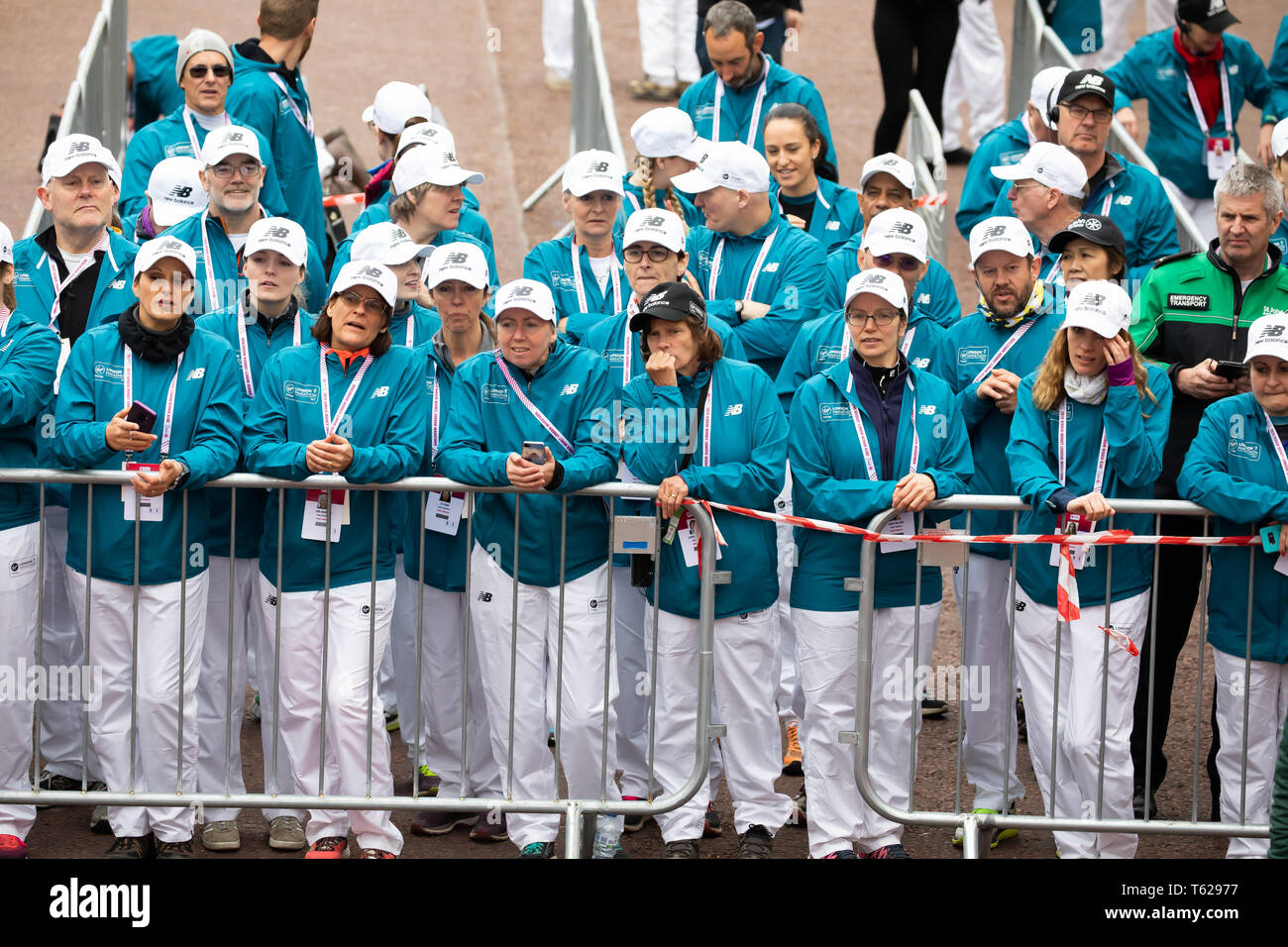 London,UK,28th April 2019, Stewards for The 39th London Marathon Credit: Keith Larby/Alamy Live News - Stock Image