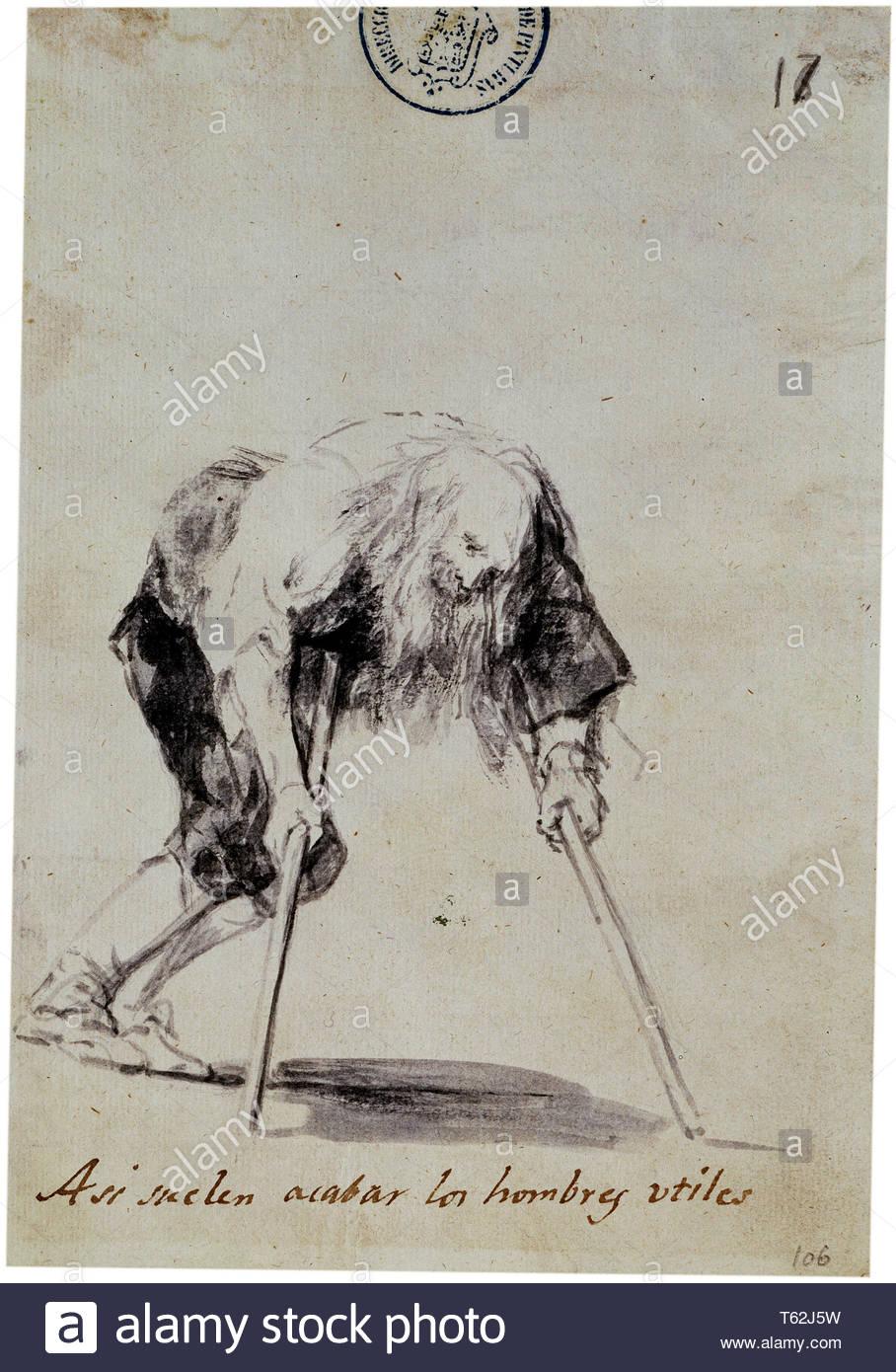 Goya y Lucientes, Francisco de-Asi suelen acabar los hombres utiles - Stock Image