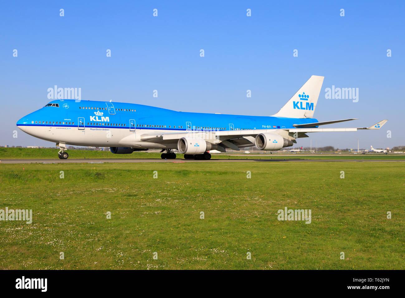 Amsterdam/Netherland Mai 26, 2019: KLM Boeing 747 last flight at Amsterdam Airport. - Stock Image