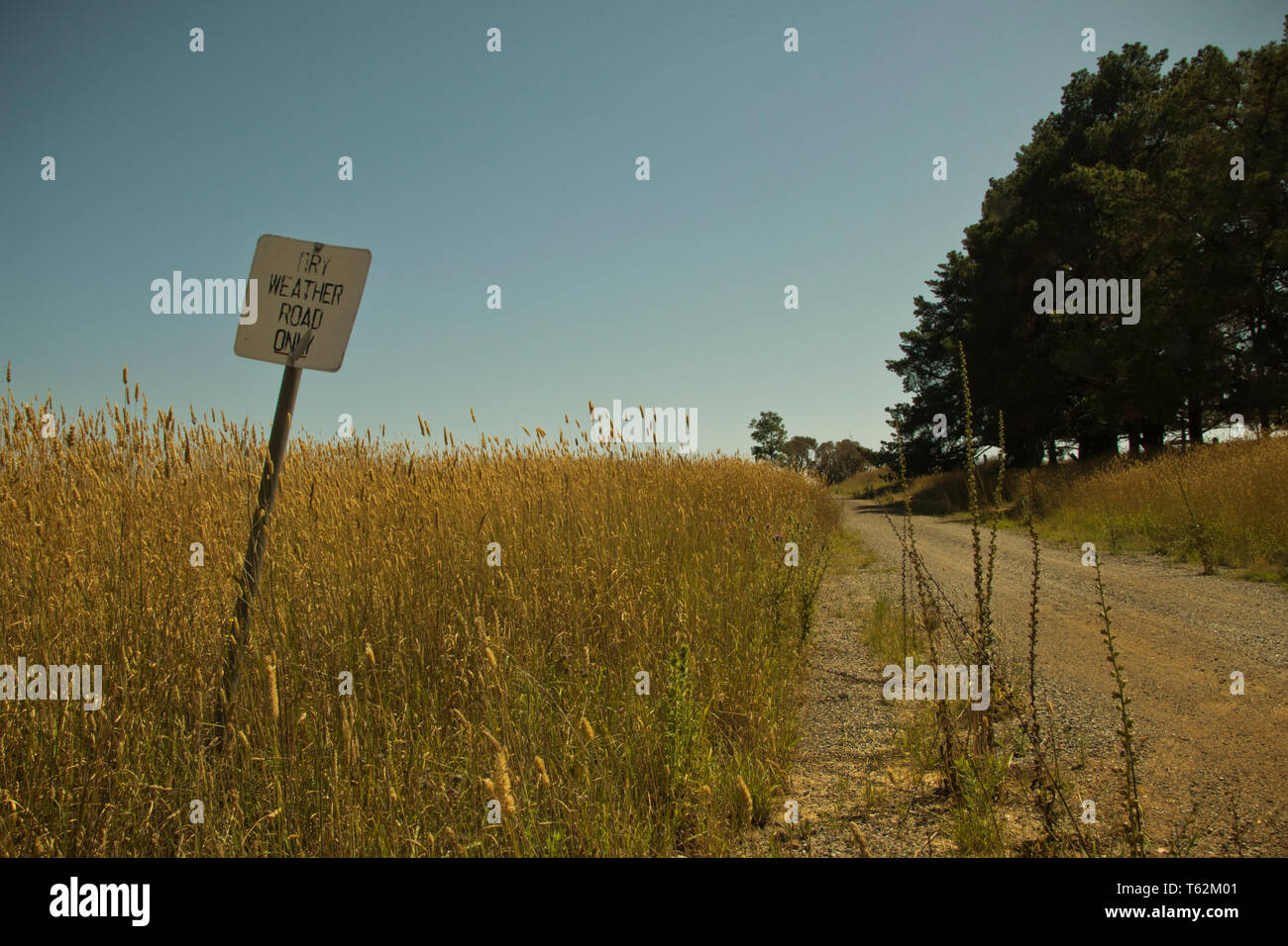 Dry weather road sign on country dirt road - Stock Image