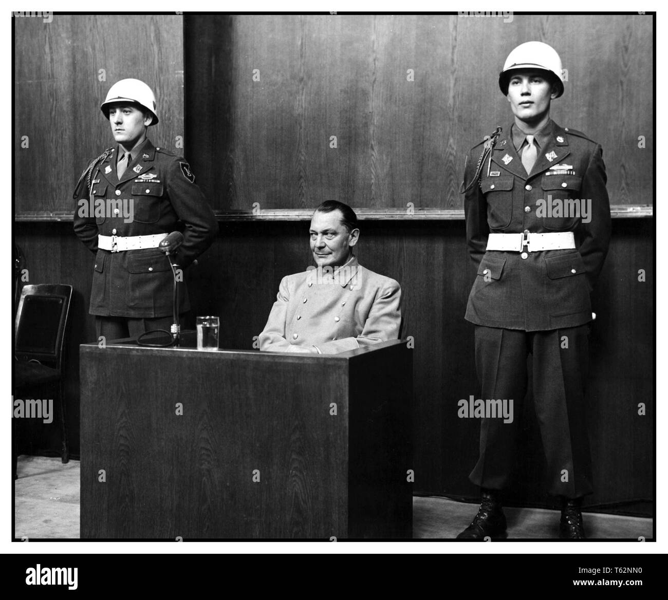 GOERING NUREMBERG TRIALS Enigmatic expression by Nazi Former Luftwaffe leader Hermann Göring at the Nuremberg Trials, 1946 Hermann Goering, WW2, Nuremberg Trials Nuremberg Germany - Stock Image