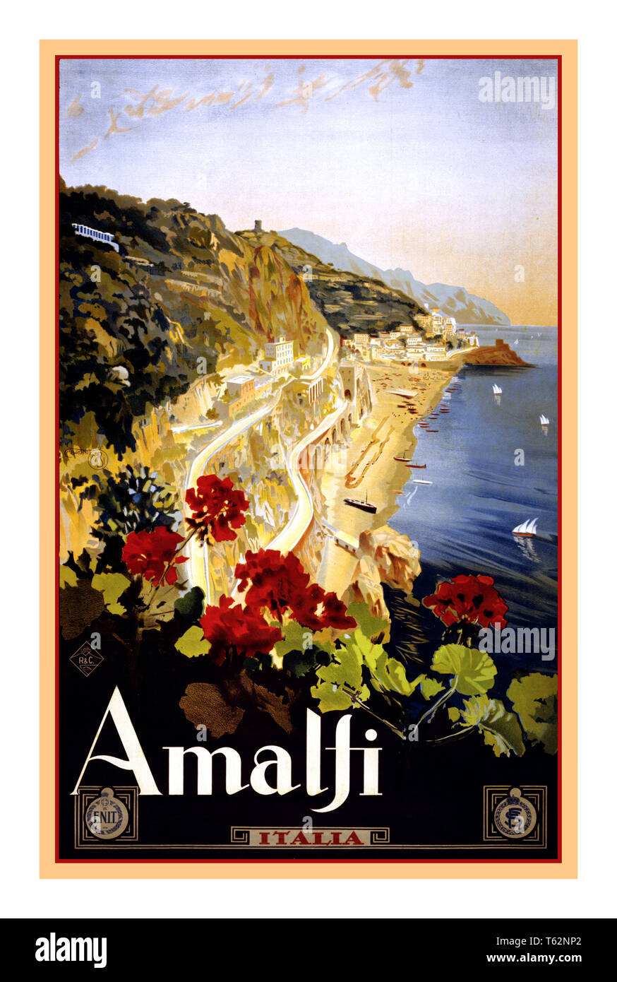 AMALFI Vintage Historic Travel Poster 1900's Amalfi Italy Travel poster by Mario Borgoni, shows Amalfi coastline with geraniums in foreground. Date 1920 Amalfi Campania Italy - Stock Image