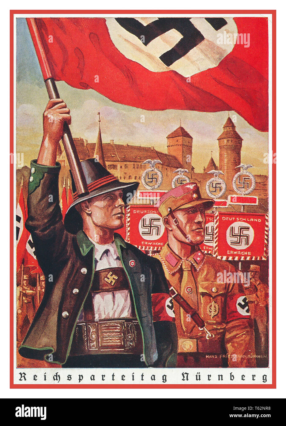 Vintage 1930's Nazi Propaganda Postcard Poster REICHSPARTEITAG NUREMBERG illustrating Swastika Flags Banners with traditional German Man in Bavarian style clothing and Brown Shirt Nazi Guard behind in Nuremberg NSDAP rally party convention situation - Stock Image