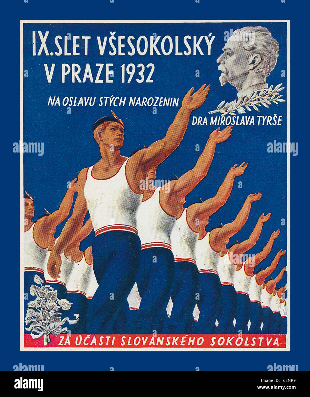 "Vintage 1930's Czech Republic Sports Poster promoting ""9th All Sokol Rally"" in Prague 1932 The poster honours Miroslav Tyrs who was key in starting the concept of mass exercise to stimulate a concept of national mindfulness. The SOKOL Programmes. Stock Photo"