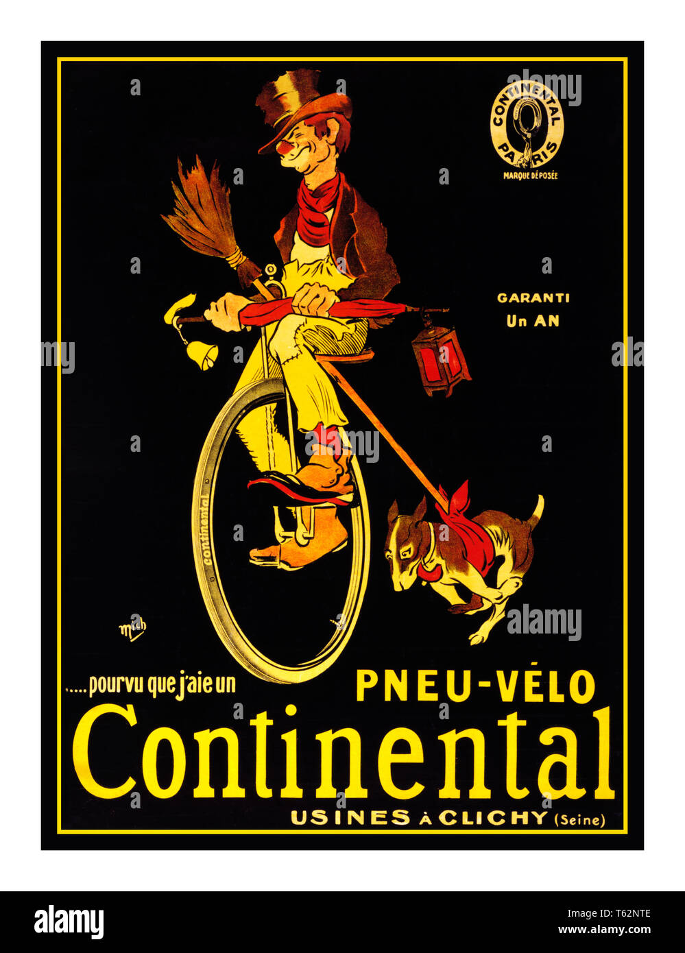Vintage 1900's advertising poster for Continental Tyres in France..Pourvu que j'aie un pneu-vélo Continental. Garanti un an. Usines à Clichy (Seine). 'If I only had a Continental bicycle tire.' Advertising poster for Continental tires showing a hobo on a unicycle with his dog running beside  c1900s - Stock Image