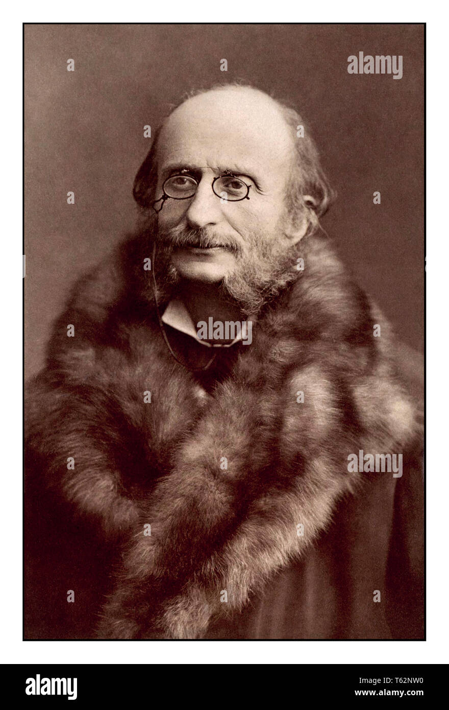 Jacques Offenbach Vintage Portrait music composer photographed by celebrated French Photographer Nadar 1860's Jacques Offenbach was a German-French composer, cellist and impresario of the romantic period. He is remembered for his nearly 100 operettas of the 1850s–1870s and his uncompleted opera The Tales of Hoffmann. - Stock Image