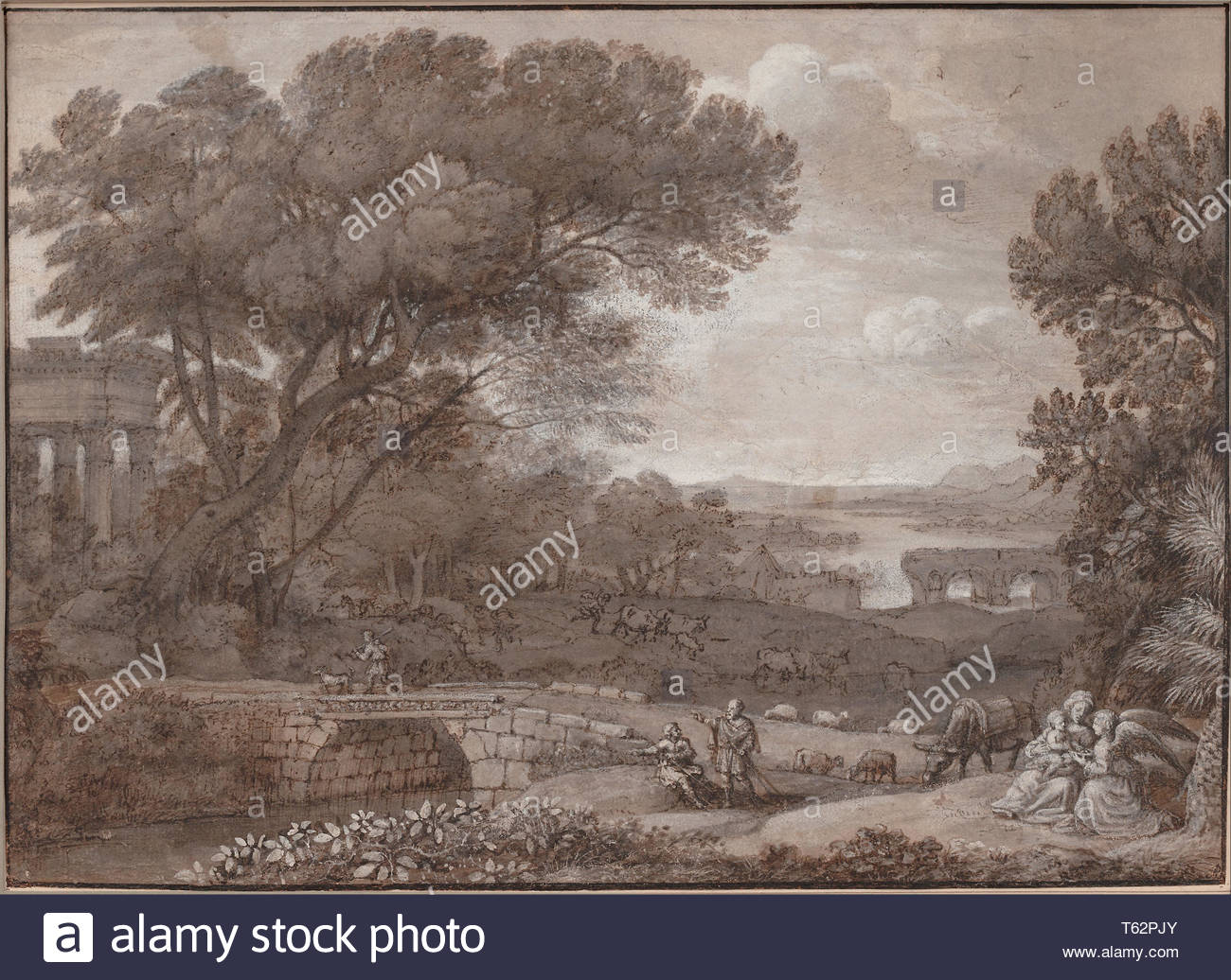 Claude Lorrain (1604-1605–1682-Landscape with the Rest on the F - Stock Image