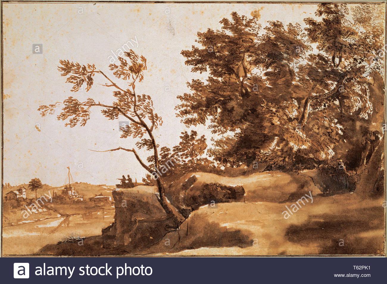 Claude Lorrain (1604-1605–1682-Tiber Landscape with Castel Sant - Stock Image