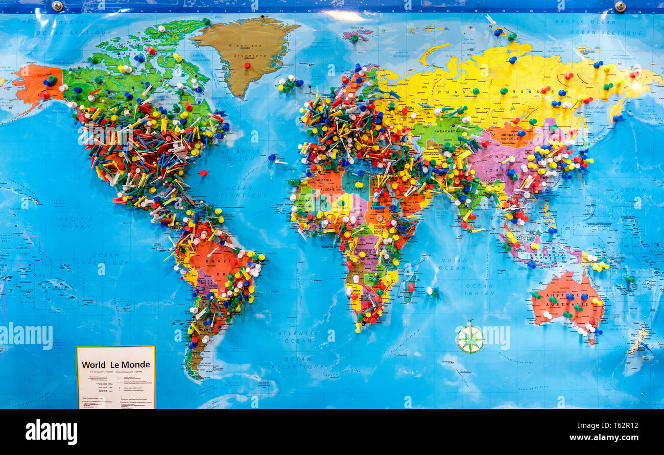 World Map With Push Pins Push pins marking locations on a world map Stock Photo   Alamy