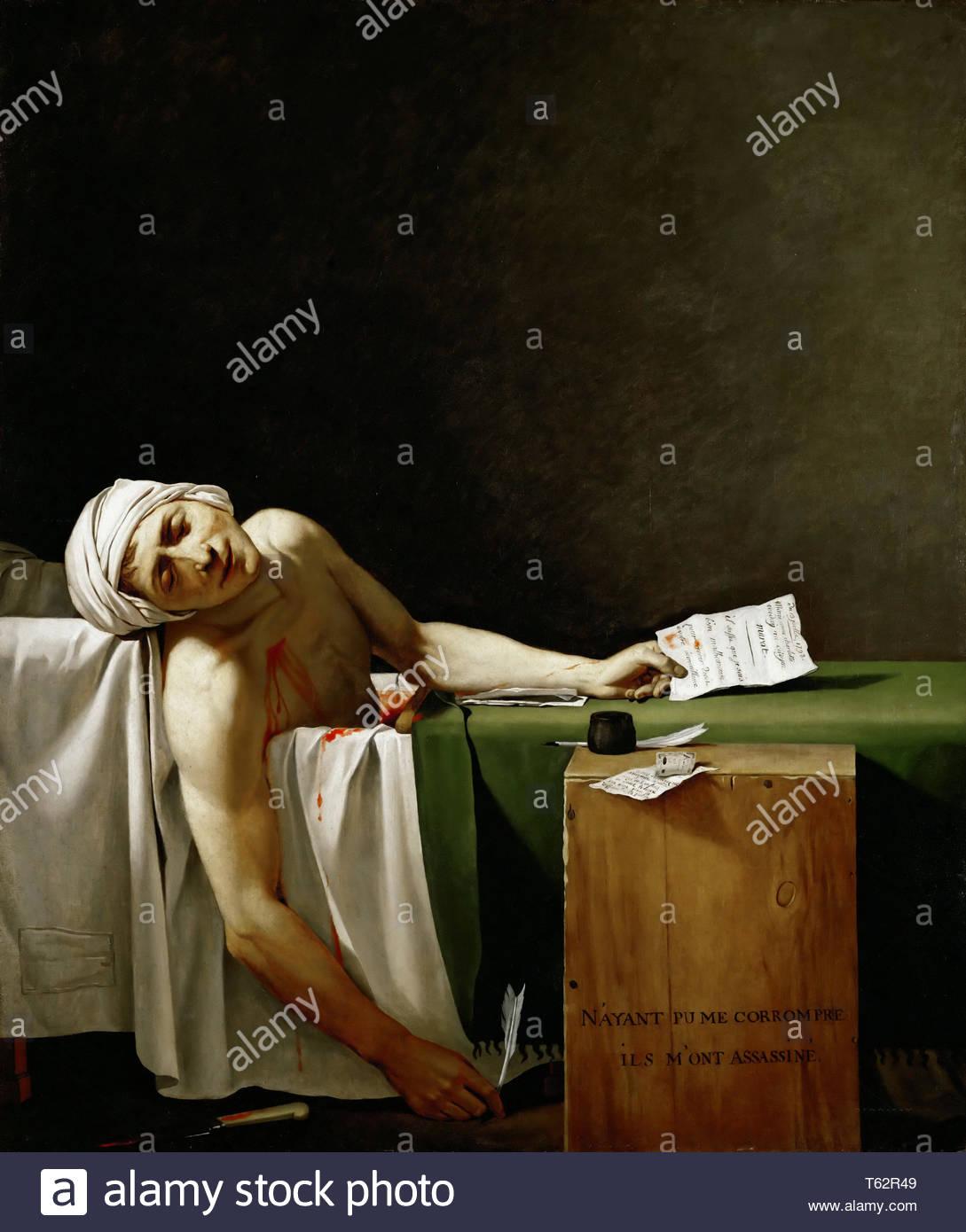 David, Jacques Louis-Jean Paul Marat, politician and publicist, dead in his bathtub - Stock Image