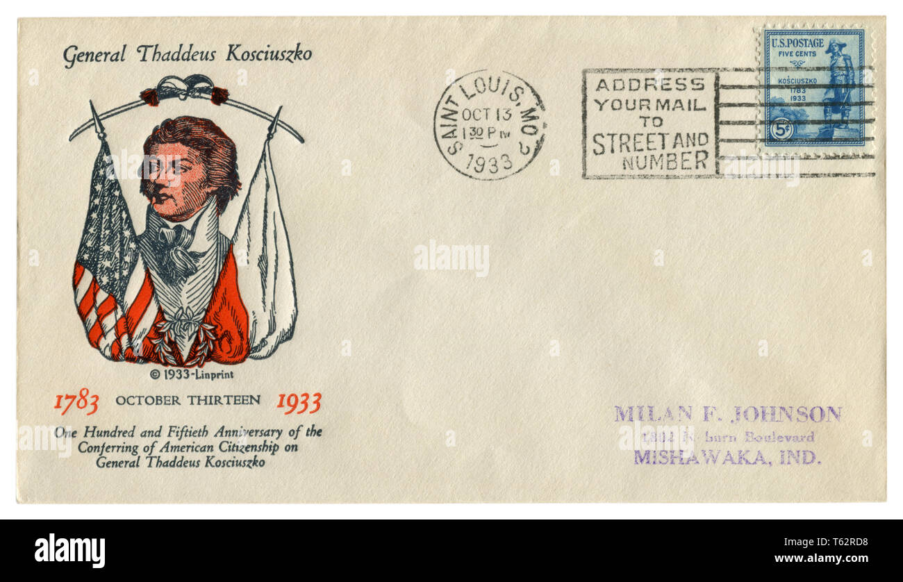 US historical envelope: cover with cachet General Thaddeus Kosciuszko, postage stamp, statue of the hero  1783-1933, five cents, cancellation, 1933 Stock Photo