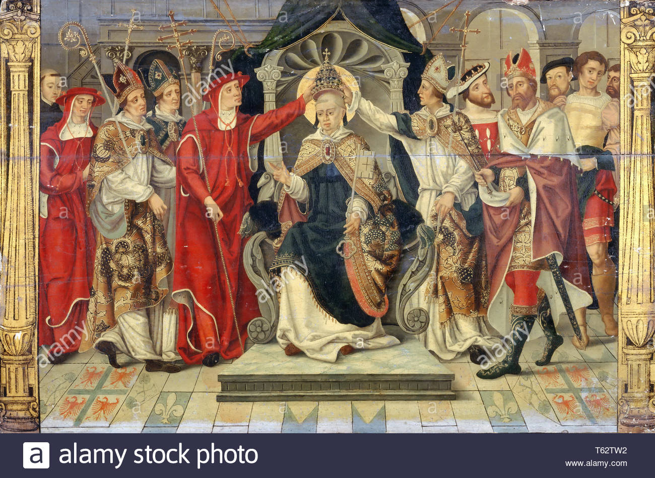 French School; formerly considered Flemish-Coronation of Pope Celestine V in 1294 - Stock Image