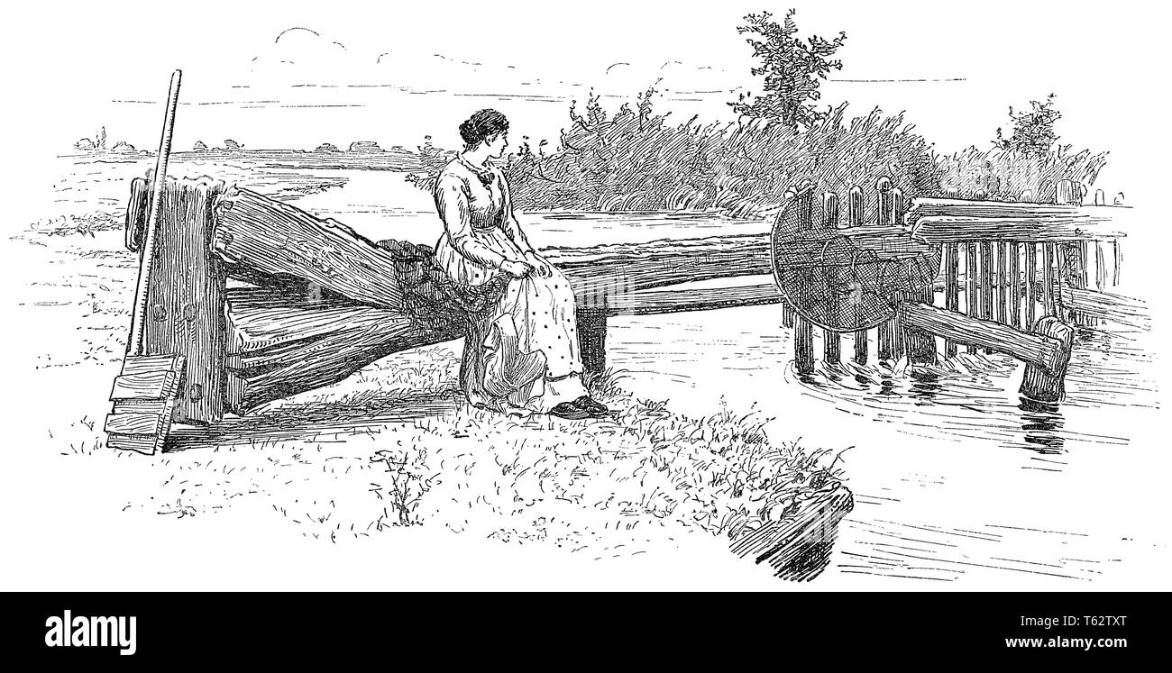 1891 engraving of the weir on the River Thames at Eynsham, Oxfordshire, England. - Stock Image