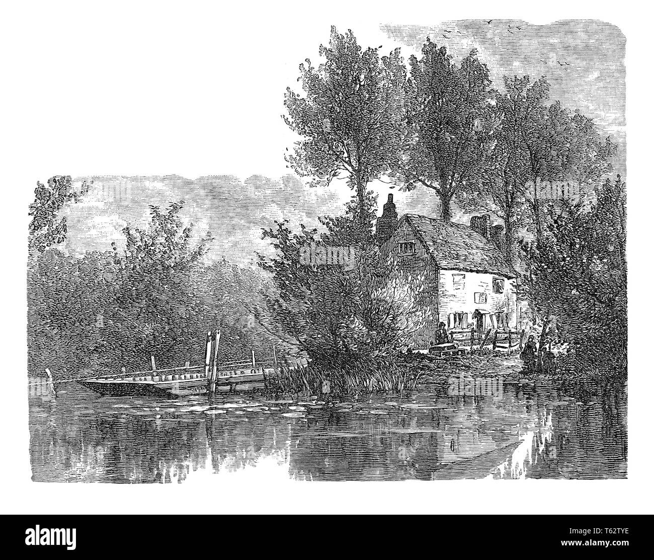 1891 engraving of the ferry at Bablock Hythe on the River Thames in Oxfordshire. - Stock Image