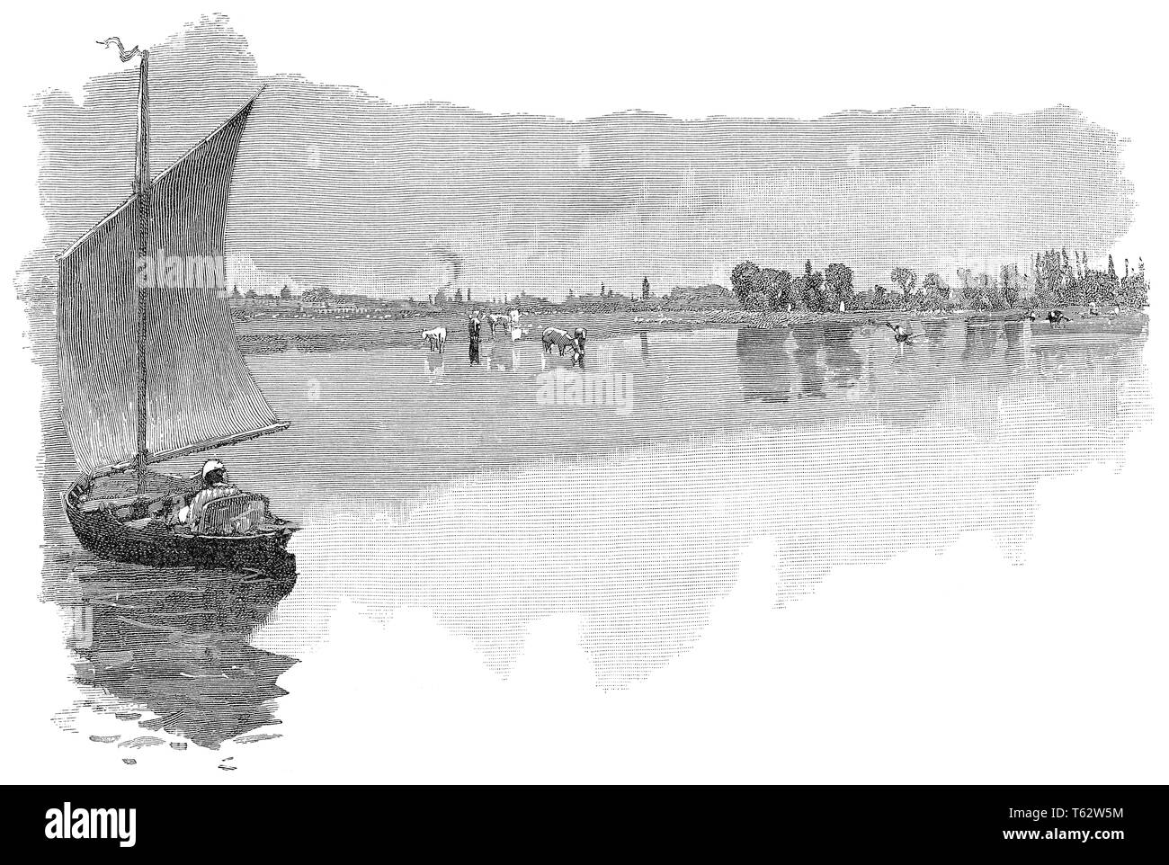 1891 engraving of the River Thames at Godstow, Oxfordshire, showing the city of Oxford in the distance. - Stock Image