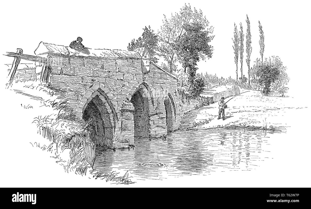 1891 engraving of Radcot Bridge over the River Thames in Oxfordshire, England. - Stock Image