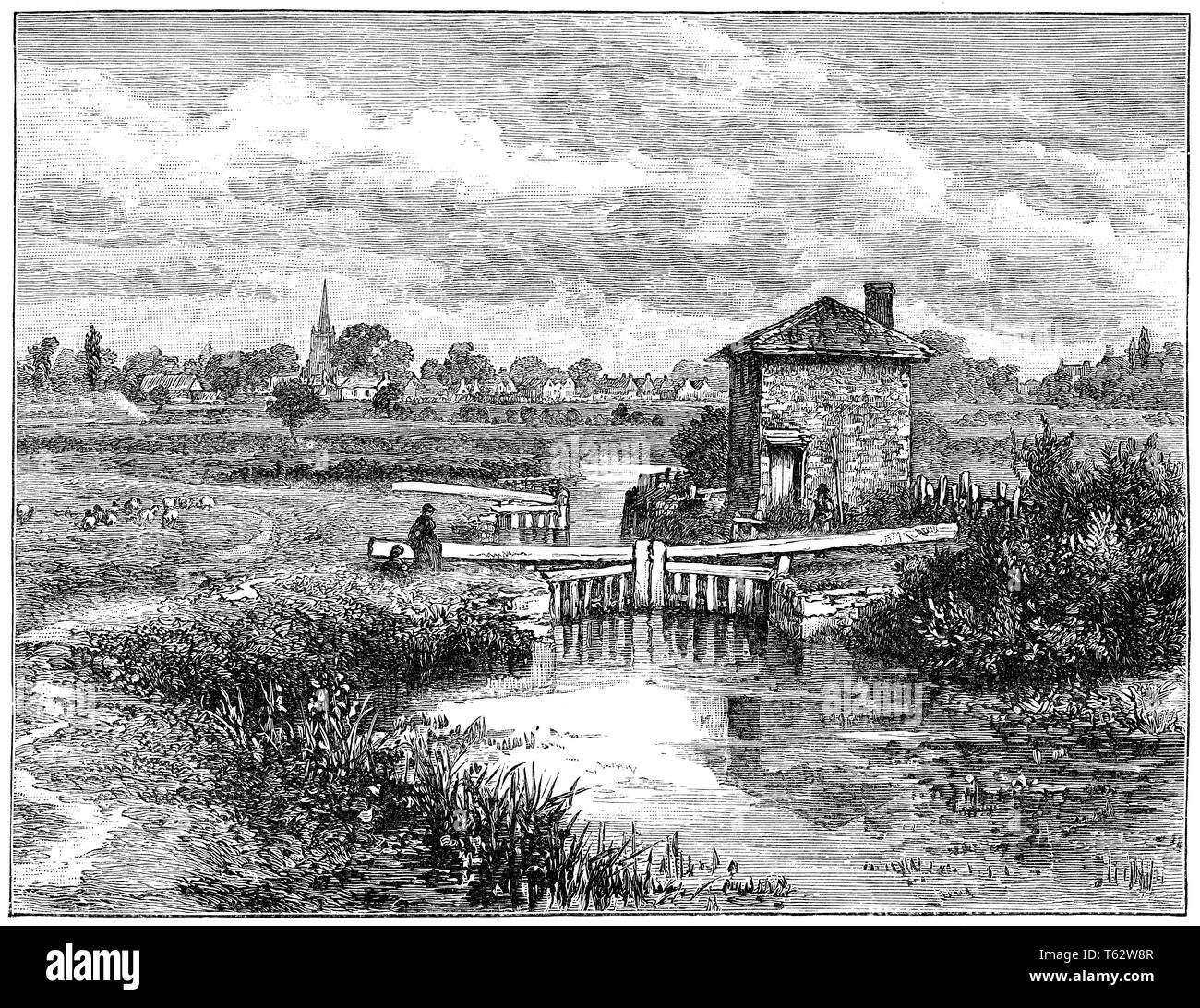 1891 engraving of St. John's Lock at Lechlade, Gloucestershire, on the River Thames. - Stock Image