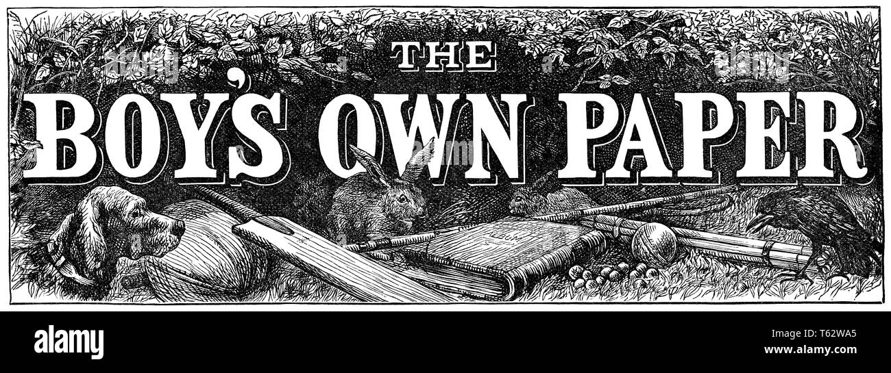 19th century masthead for The Boy's Own Paper. - Stock Image