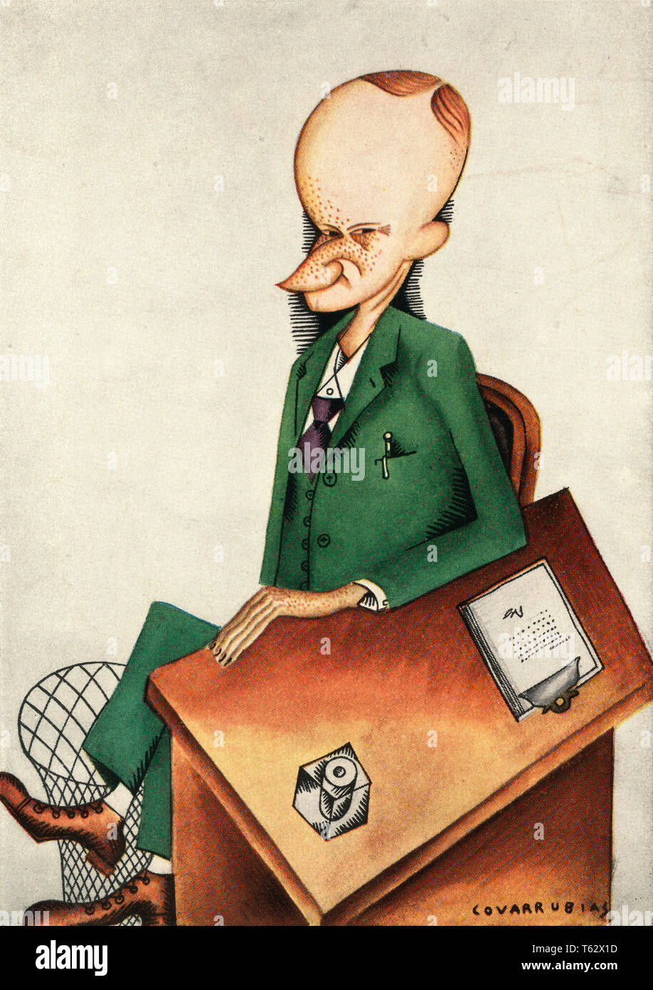 1920s CARICATURE AMERICAN PRESIDENT CALVIN COOLIDGE BY COVARRUBIAS COLOR HALFTONE - kh13297 CPC001 HARS CONCEPTUAL COOLIDGE SNEER CALVIN CARICATURE PARODY SATIRE CAUCASIAN ETHNICITY OLD FASHIONED - Stock Image