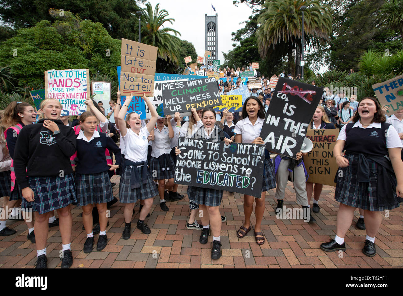 Picture by Tim Cuff - 15 March 2019 - Schoolchildren protest against climate change in the centre of Nelson, New Zealand Stock Photo