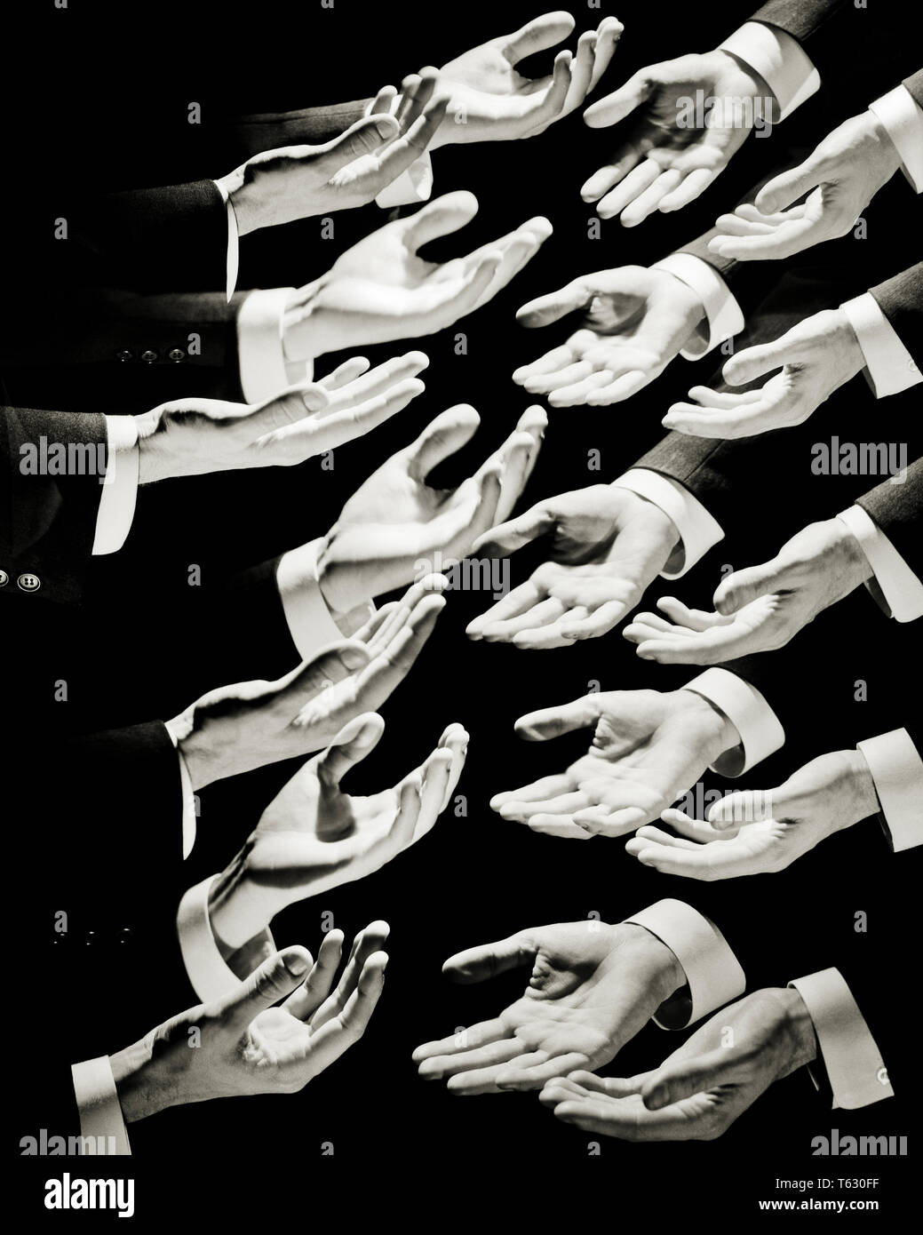 1960s SYMBOLIC COMPOSITE MONTAGE MULTIPLE EXPOSURE GRAPHIC EFFECT CONCEPT OF MANY BUSINESSMAN HANDS REACHING OUT IN SUPPLICATION - s14516 HAR001 HARS PAYMENT POLITICS CONCEPT CONCEPTUAL ESCAPE SUPPLICATION SYMBOLIC CONCEPTS BLACK AND WHITE CAUCASIAN ETHNICITY GRAPHIC EFFECT HANDS ONLY HAR001 OLD FASHIONED REPRESENTATION - Stock Image