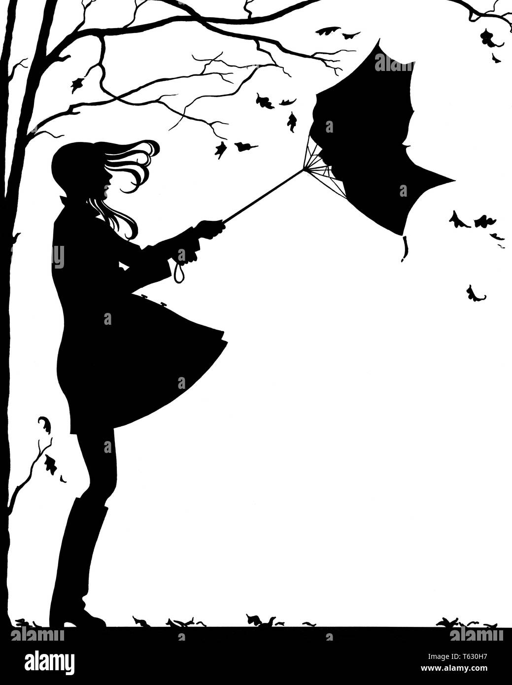 1960s 1970s TEEN GIRL WITH FLYING HAIR UMBRELLA TURNED INSIDE OUT RAINY VERY WINDY AUTUMN DAY SYMBOLIC SILHOUETTE ILLUSTRATION - s17621 HAR001 HARS BALANCE SAFETY ABSTRACT LIFESTYLE FEMALES HEALTHINESS HOME LIFE COPY SPACE FULL-LENGTH LADIES RAINY PERSONS RISK TEENAGE GIRL RAINING SYMBOLS SPIRITUALITY STORMY B&W SADNESS VERY ADVENTURE PROTECTION STRENGTH SILHOUETTED EXCITEMENT POWERFUL DIRECTION TURNED CONCEPT CONCEPTUAL ESCAPE STYLISH TEENAGED WINDY ANONYMOUS SYMBOLIC CONCEPTS INSIDE OUT YOUNG ADULT WOMAN BLACK AND WHITE HAR001 OLD FASHIONED REPRESENTATION WIND BLOWN - Stock Image